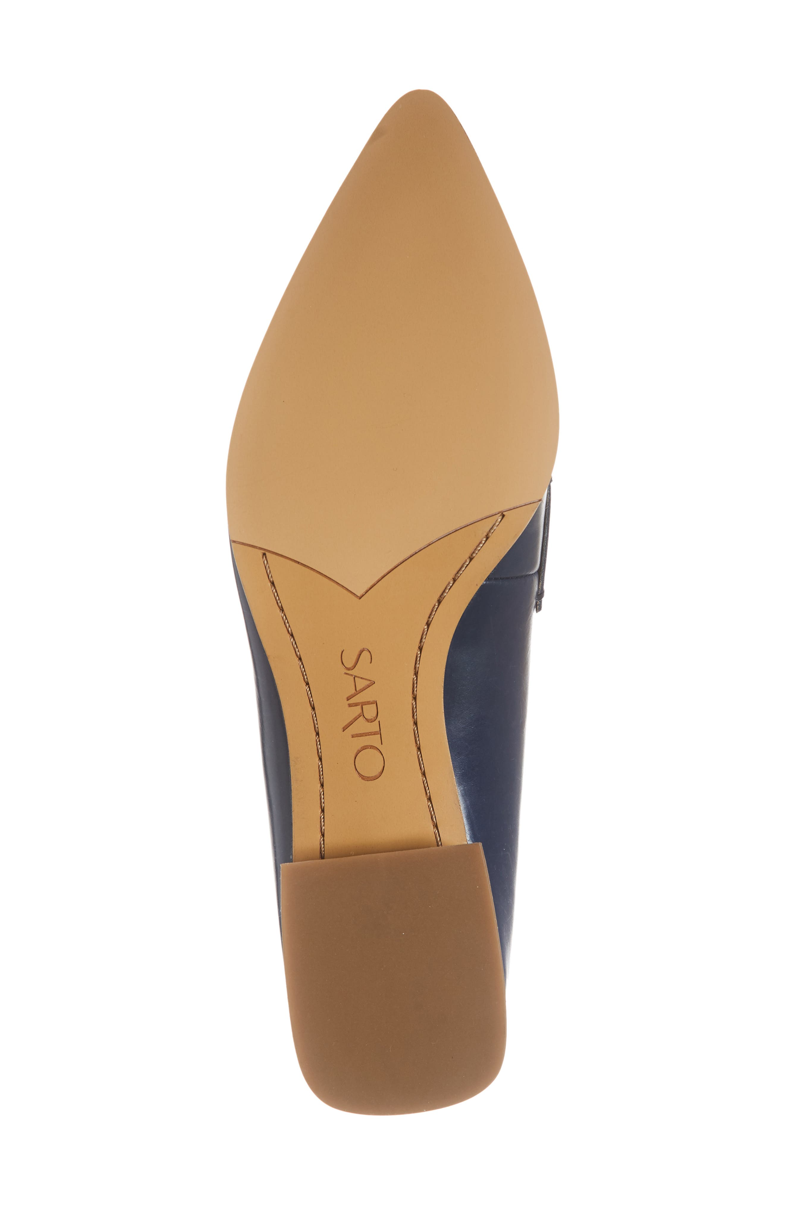 Nebby 2 Pointy Toe Loafer,                             Alternate thumbnail 6, color,                             NAVY LEATHER