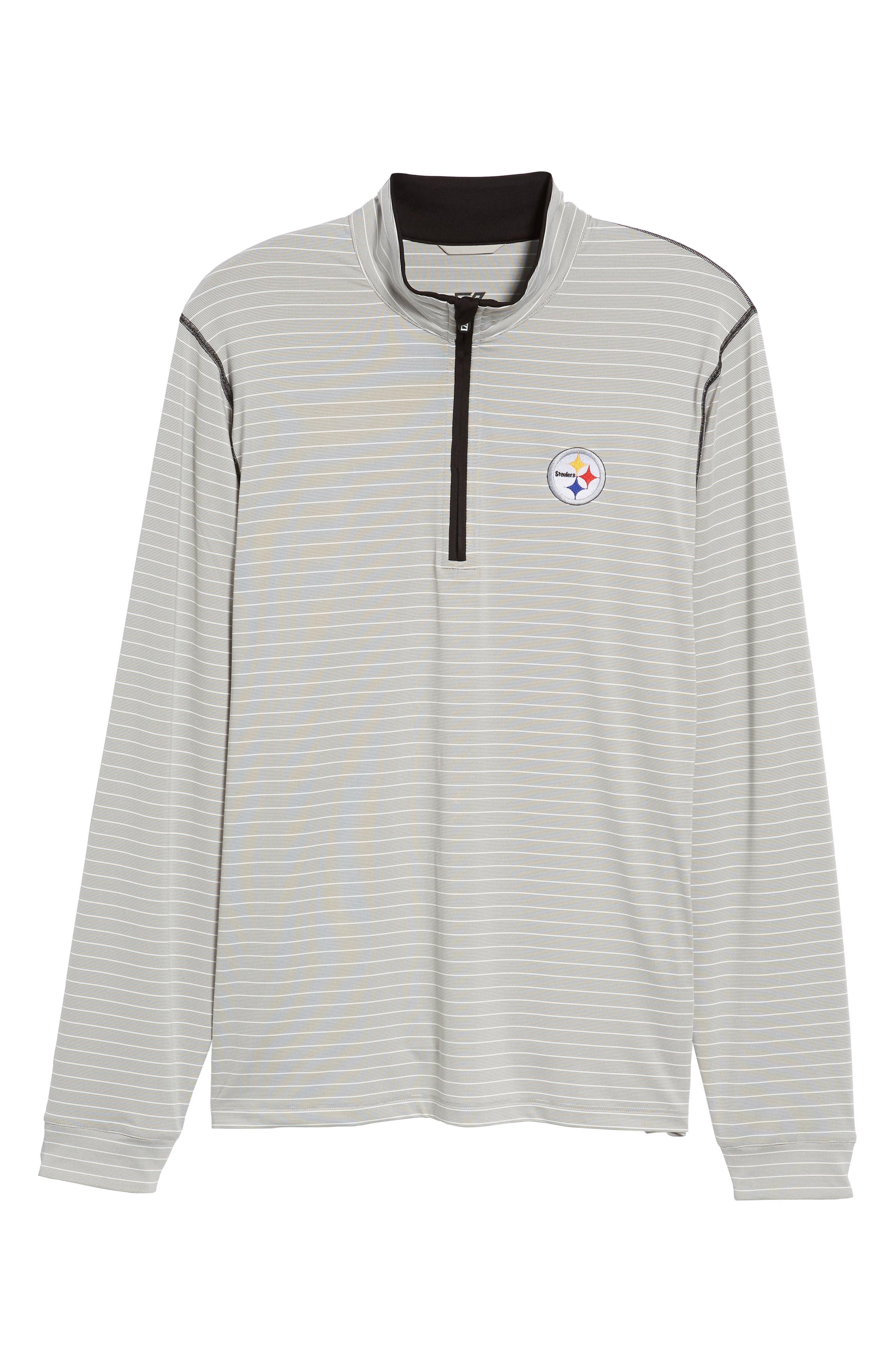 Meridian - Pittsburgh Steelers Regular Fit Half Zip Pullover,                             Alternate thumbnail 6, color,                             BLACK
