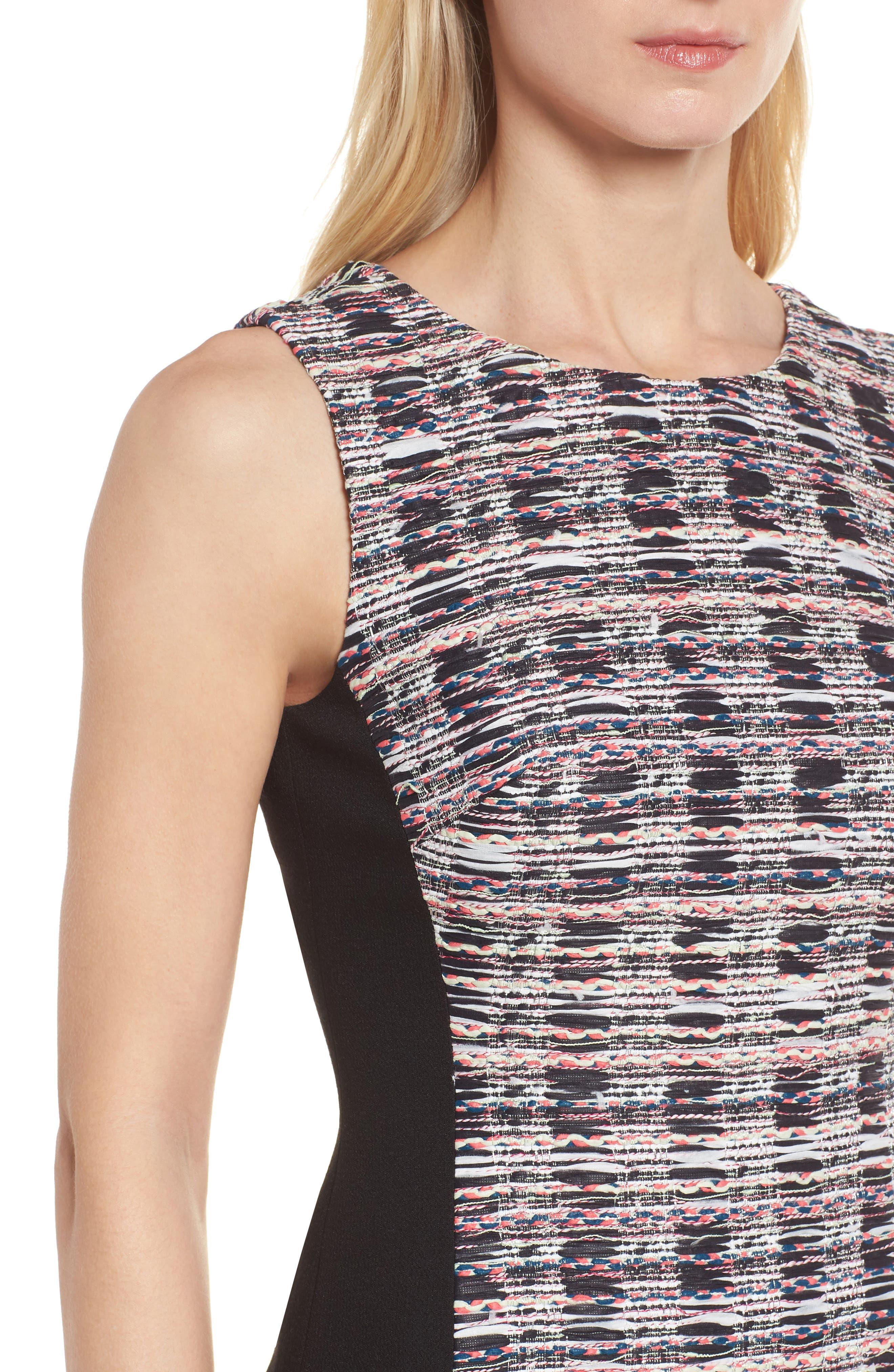 Tweed Mix Body-Con Sheath Dress,                             Alternate thumbnail 4, color,                             001