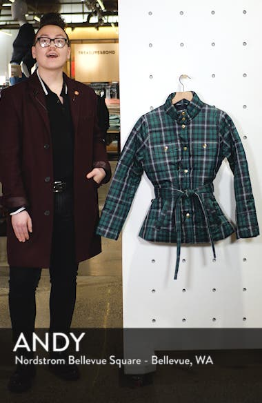 Plaid Belted Puffer Jacket, sales video thumbnail
