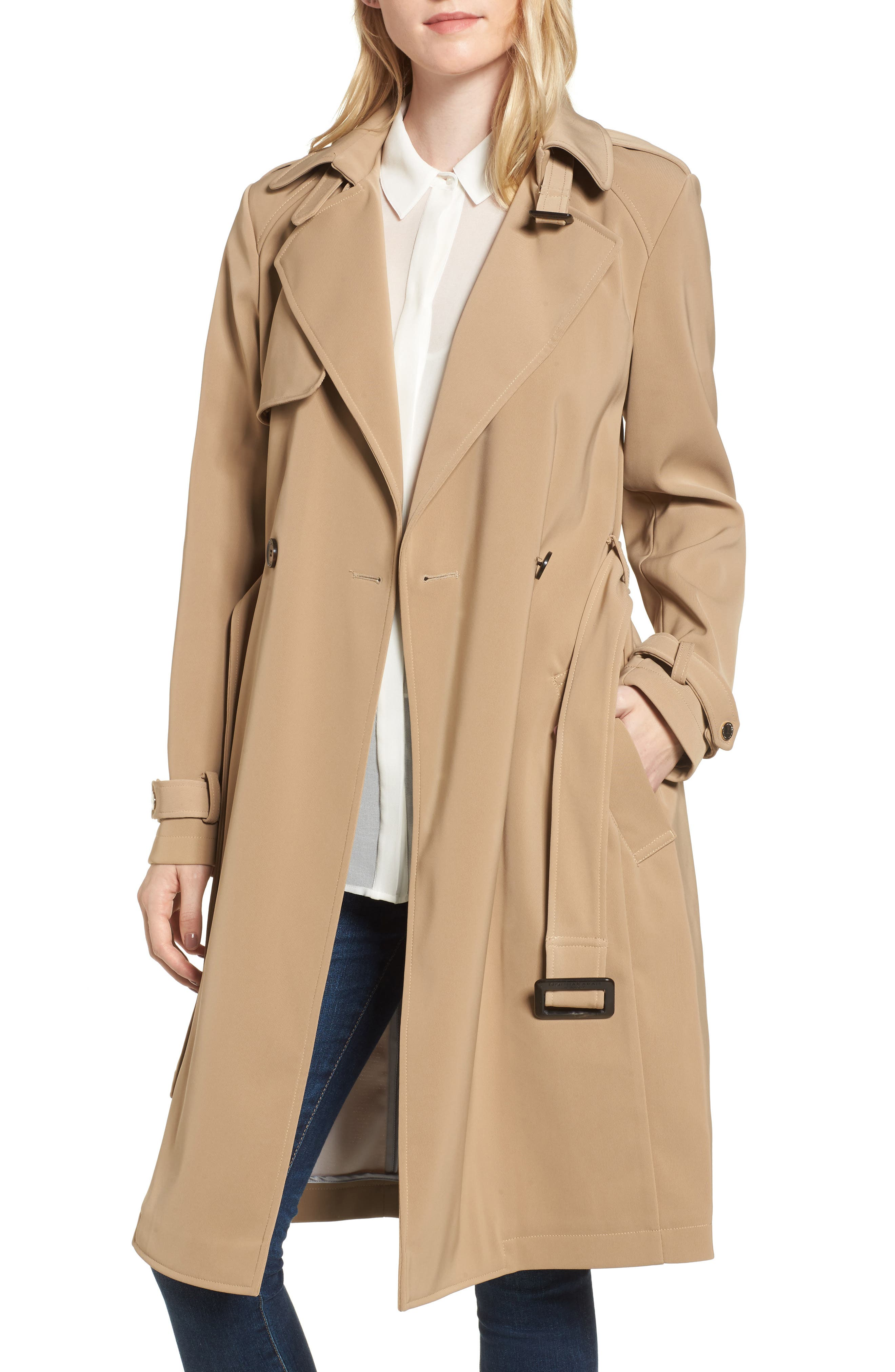 DKNY French Twill Water Resistant Trench Coat,                             Main thumbnail 2, color,