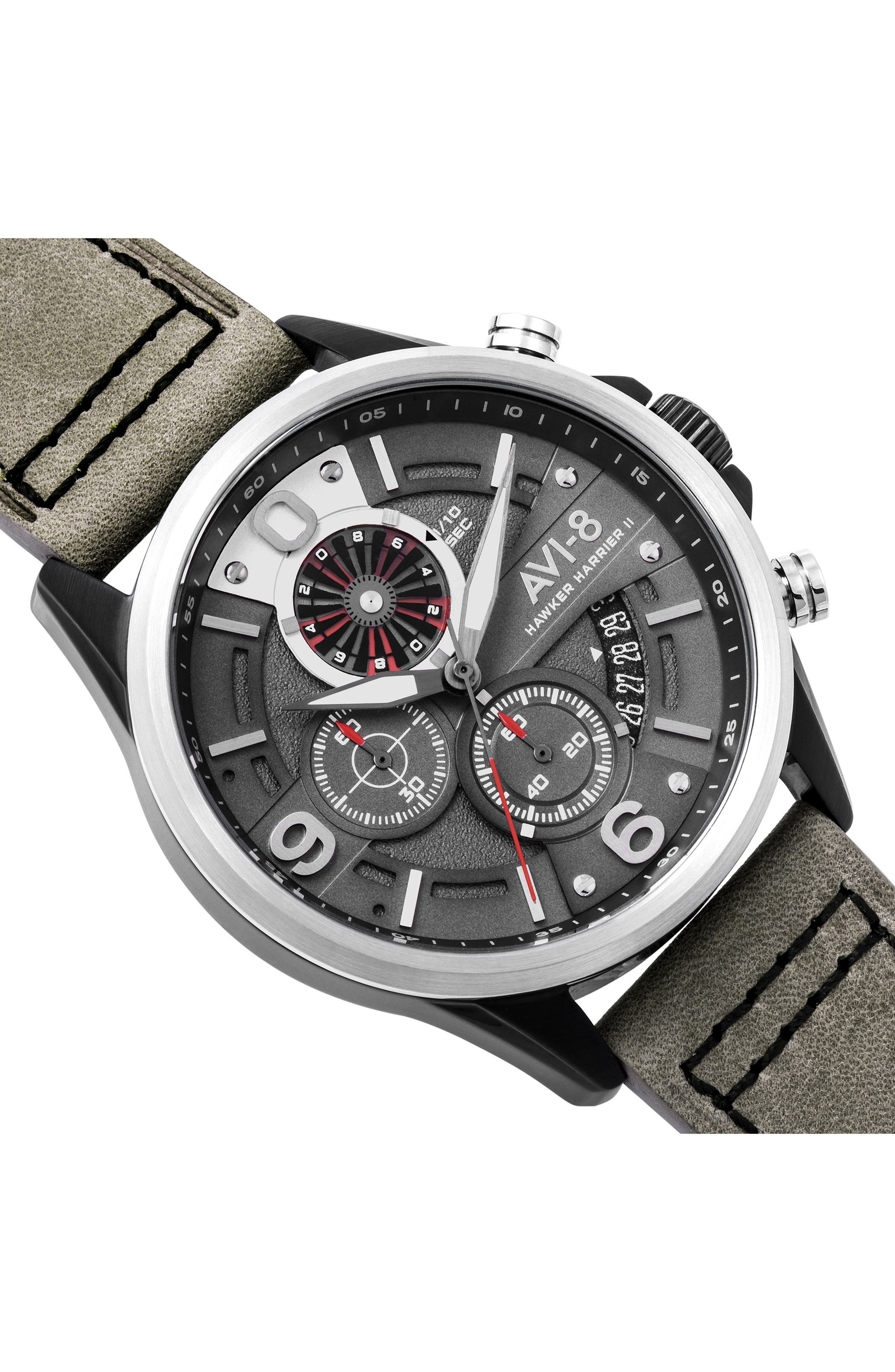 Hawker Harrier II Turbine Chronograph Leather Strap Watch, 45mm,                             Alternate thumbnail 3, color,                             020