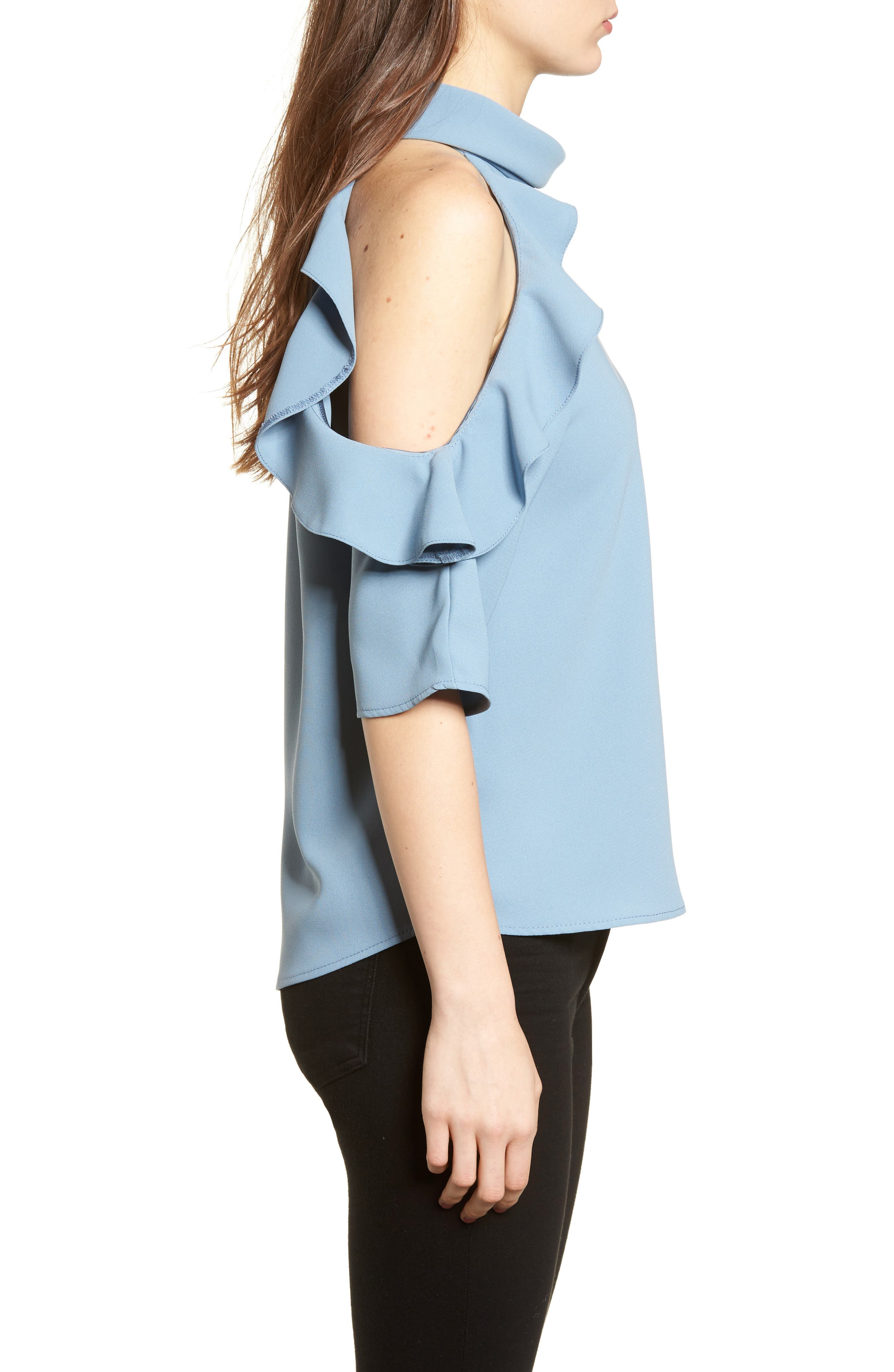 Ruffle Cold Shoulder Top,                             Alternate thumbnail 15, color,
