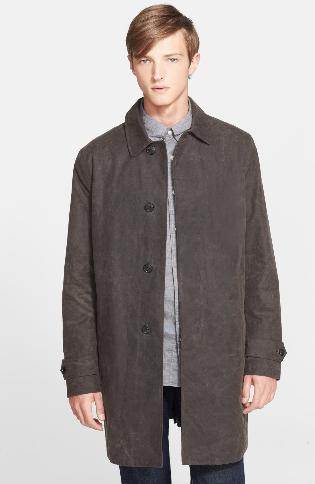 'Waxwear' Water Resistant Waxed Canvas Trench Coat,                             Main thumbnail 1, color,