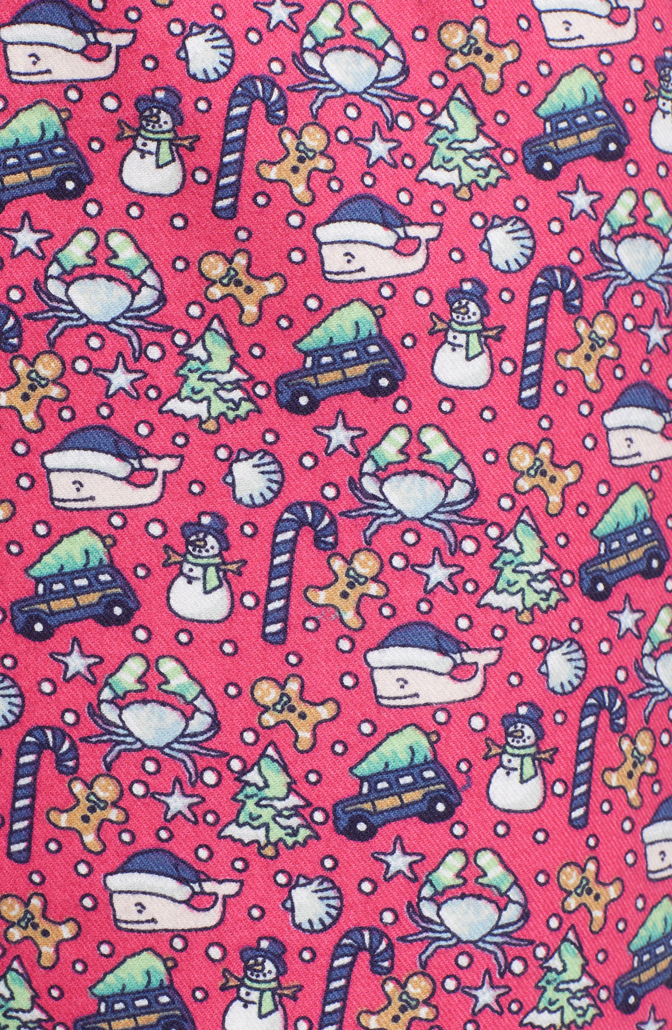 Holiday Print Lounge Pants,                             Alternate thumbnail 5, color,                             GOJI BERRY