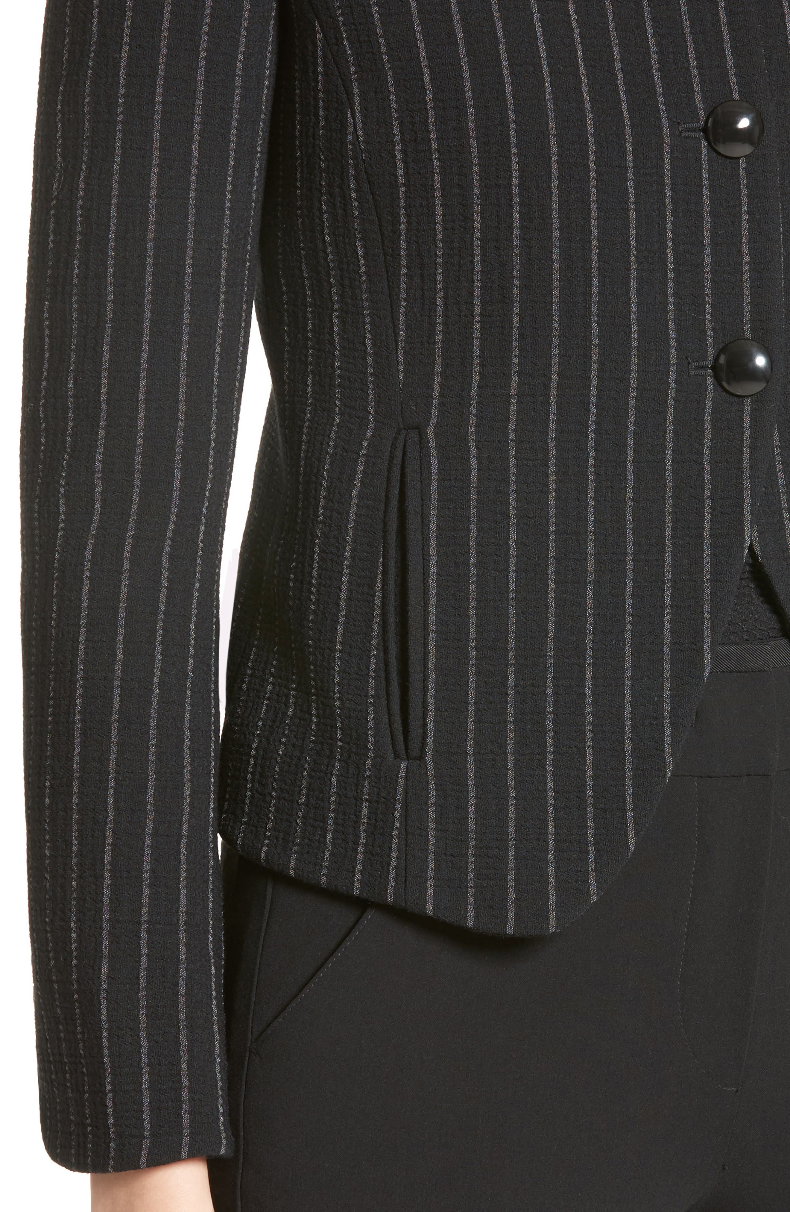 Stretch Wool Pinstripe Jacket,                             Alternate thumbnail 4, color,                             001