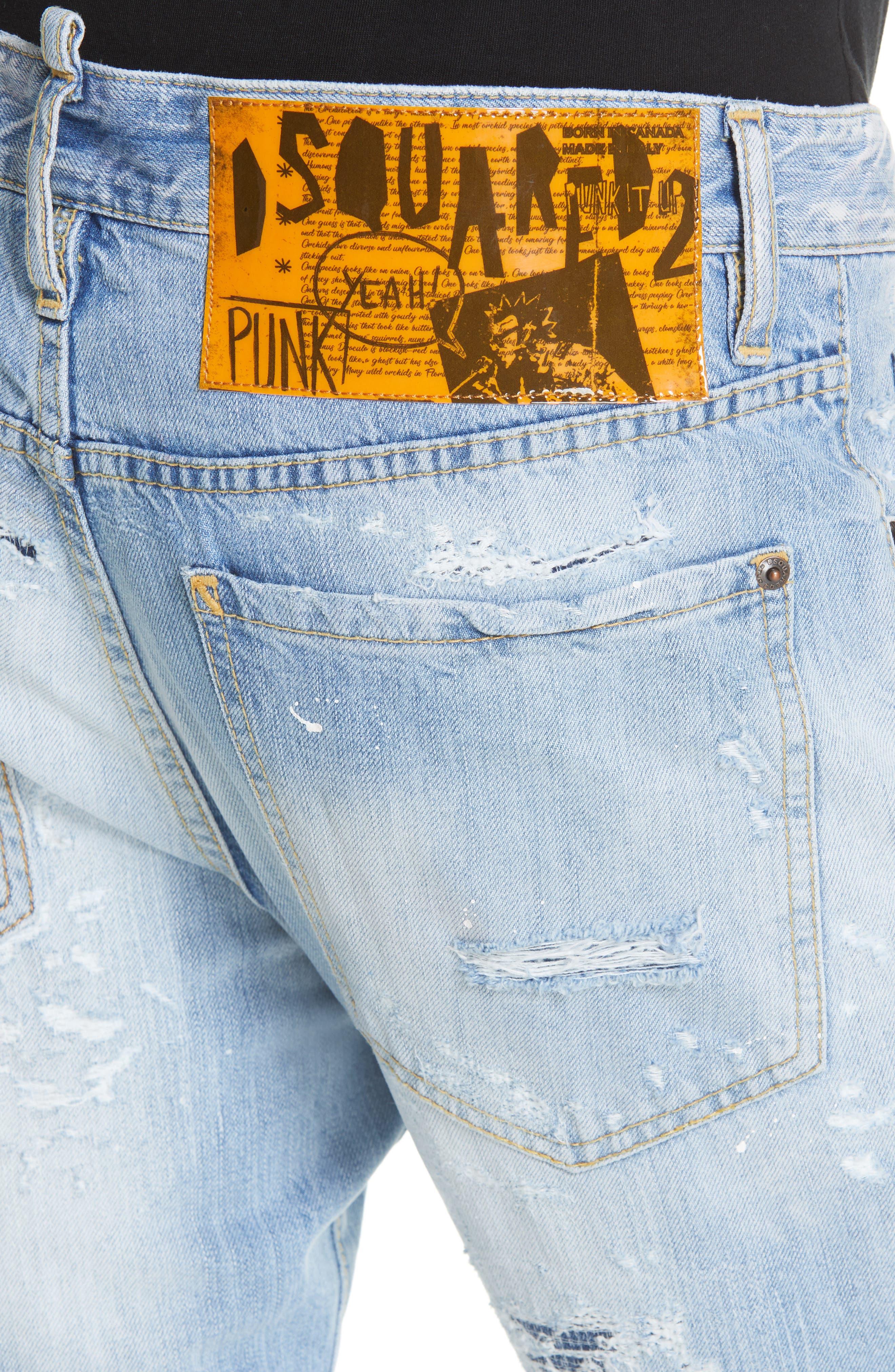 Light Wash Cigarette Fit Jeans,                             Alternate thumbnail 4, color,                             BLUE