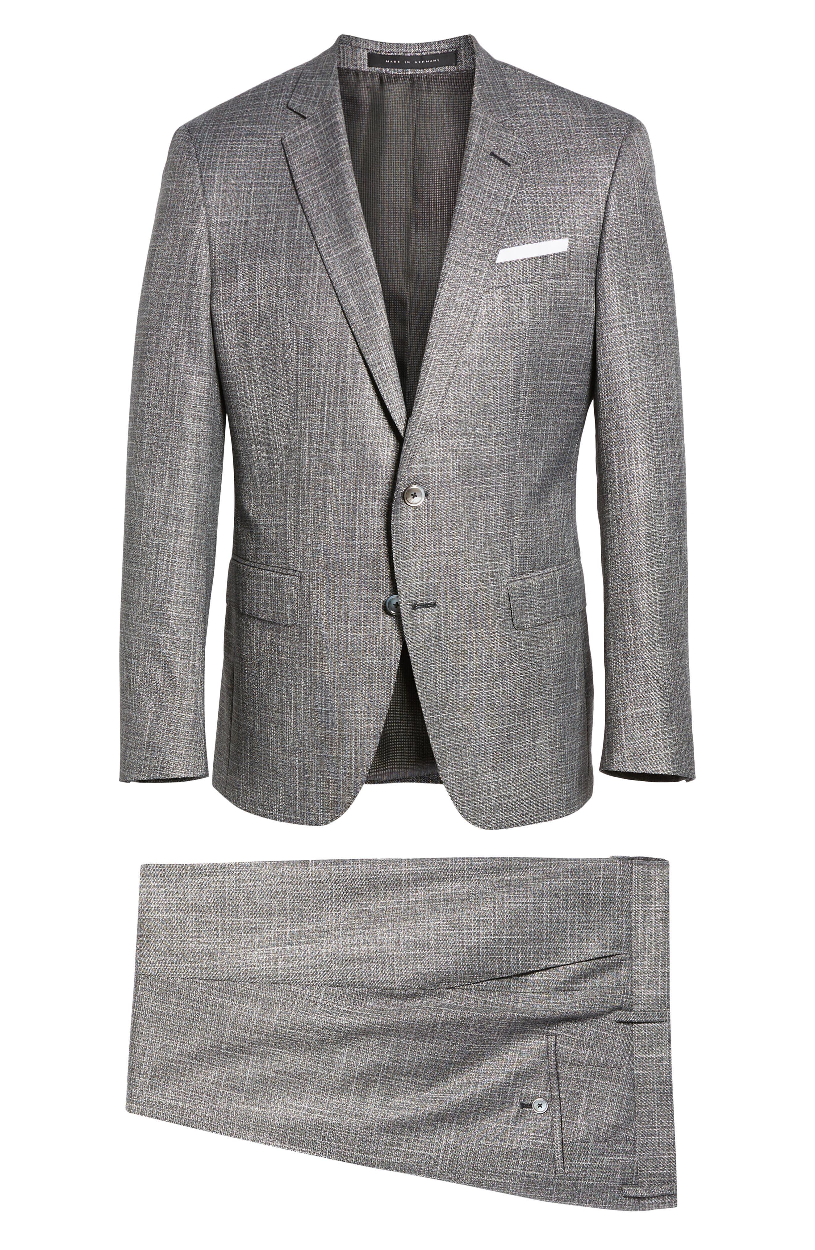 Hutson/Gander Trim Fit Solid Wool Blend Suit,                             Alternate thumbnail 8, color,                             MEDIUM GREY