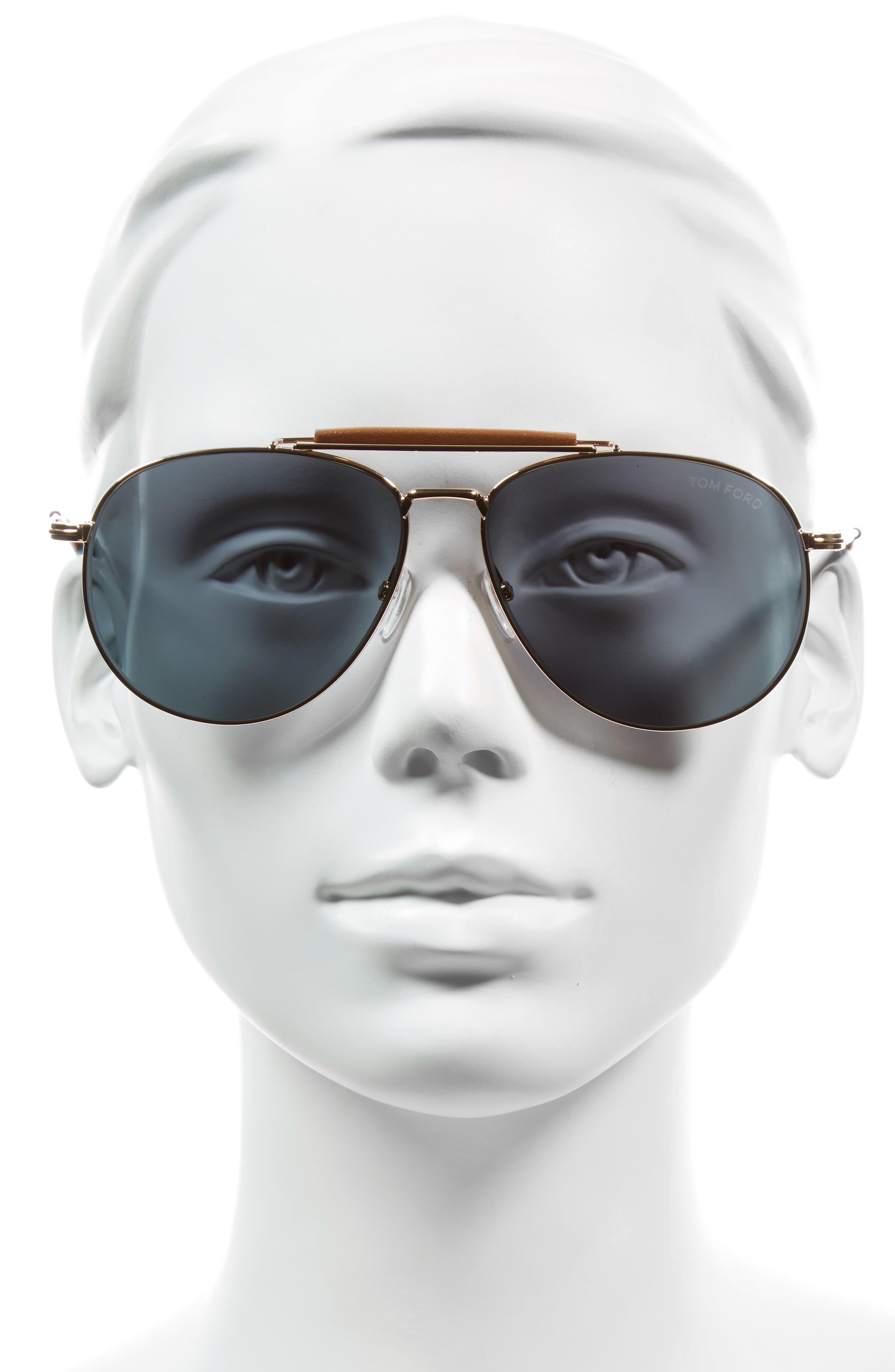 Sean 60mm Aviator Sunglasses,                             Alternate thumbnail 2, color,                             ROSE GOLD/ BROWN/ PINK MIRROR