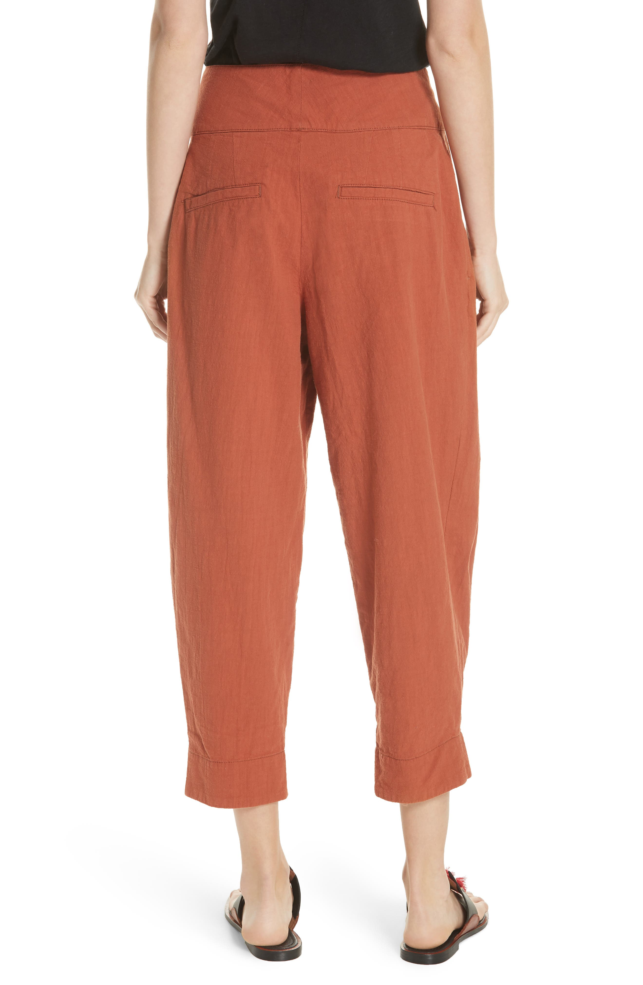 Double Buckle Crop Trousers,                             Alternate thumbnail 2, color,                             BROWN