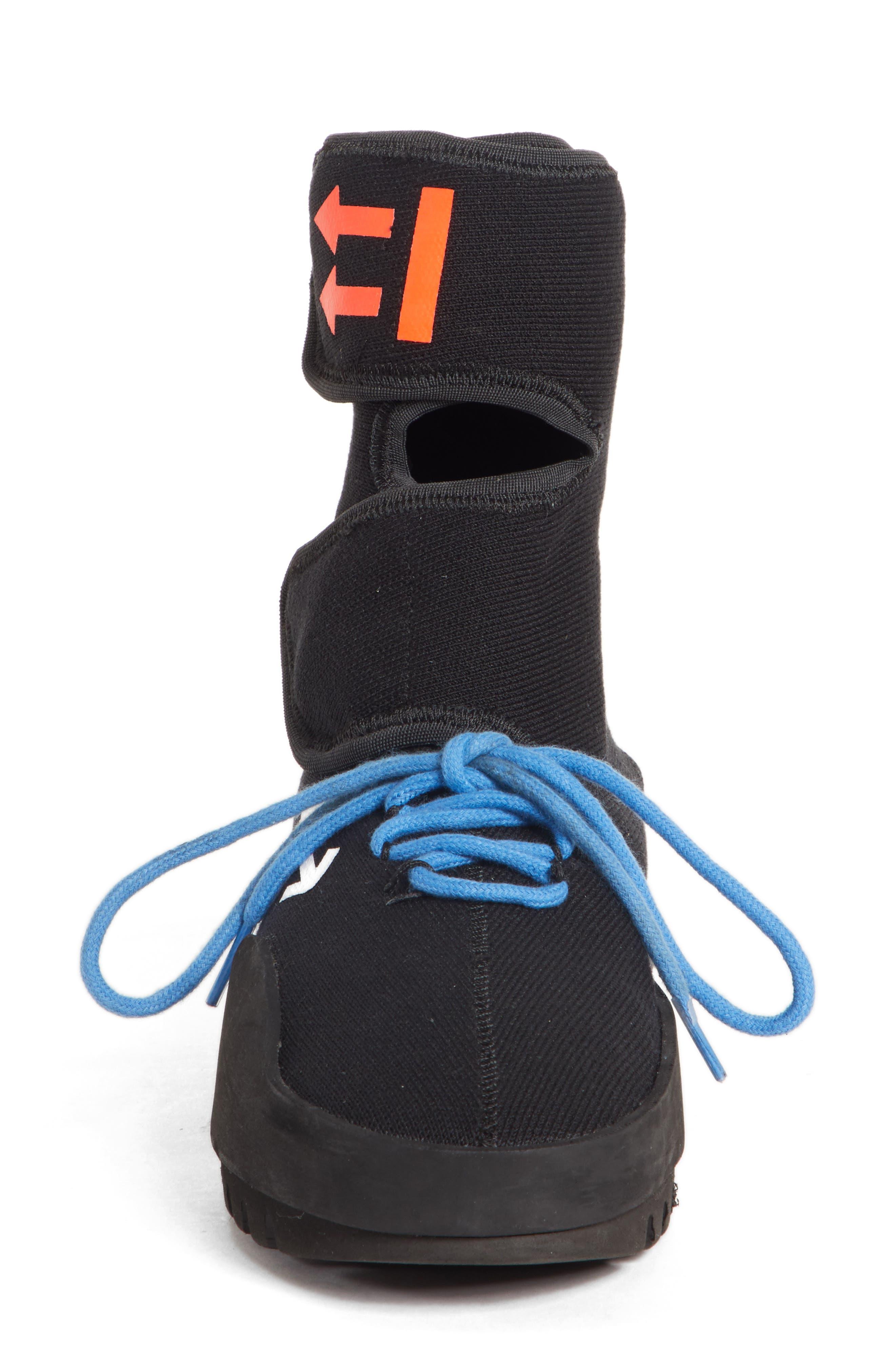 Moto Wrap Sneaker,                             Alternate thumbnail 4, color,                             BLACK WHITE