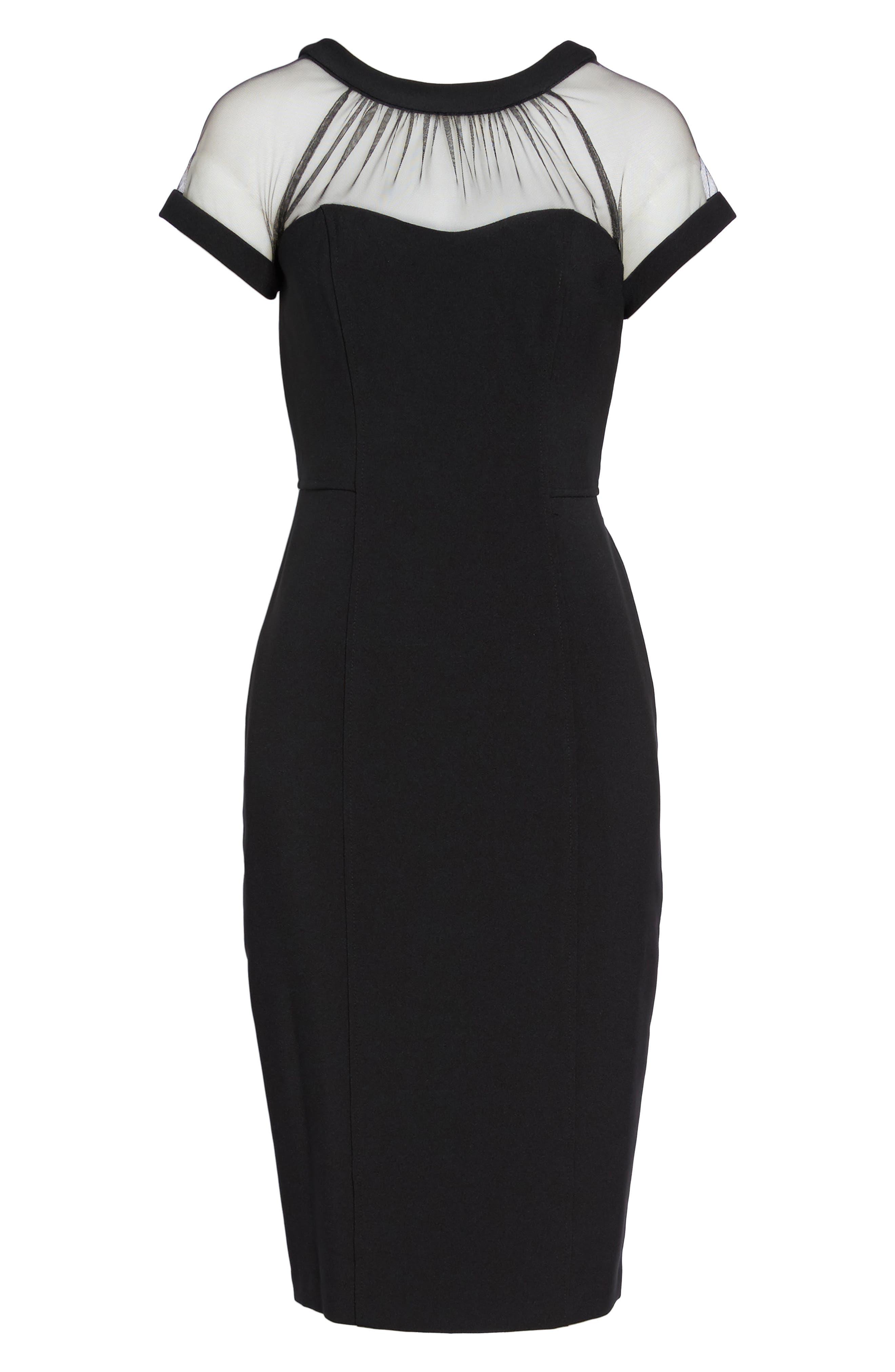 Illusion Yoke Crepe Sheath Dress, Alternate, color, BLACK