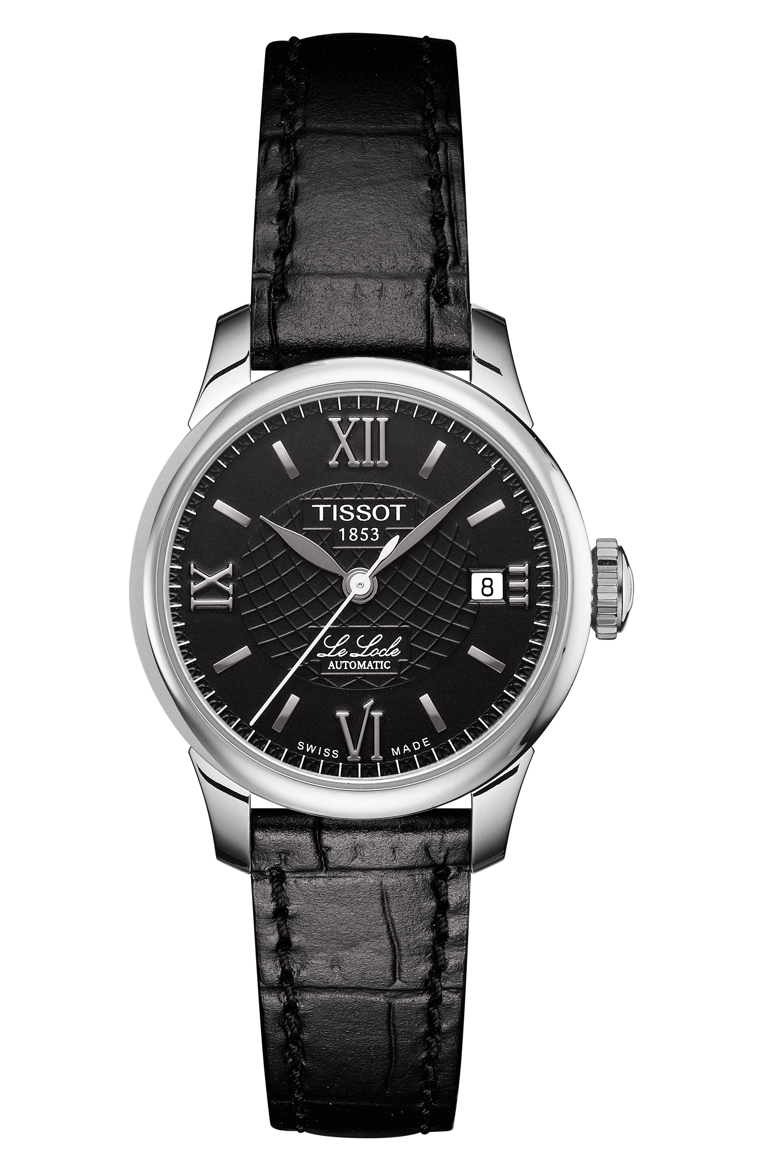 TISSOT Le Locle Automatic Lady Leather Strap Watch, 25Mm in Black/ Silver