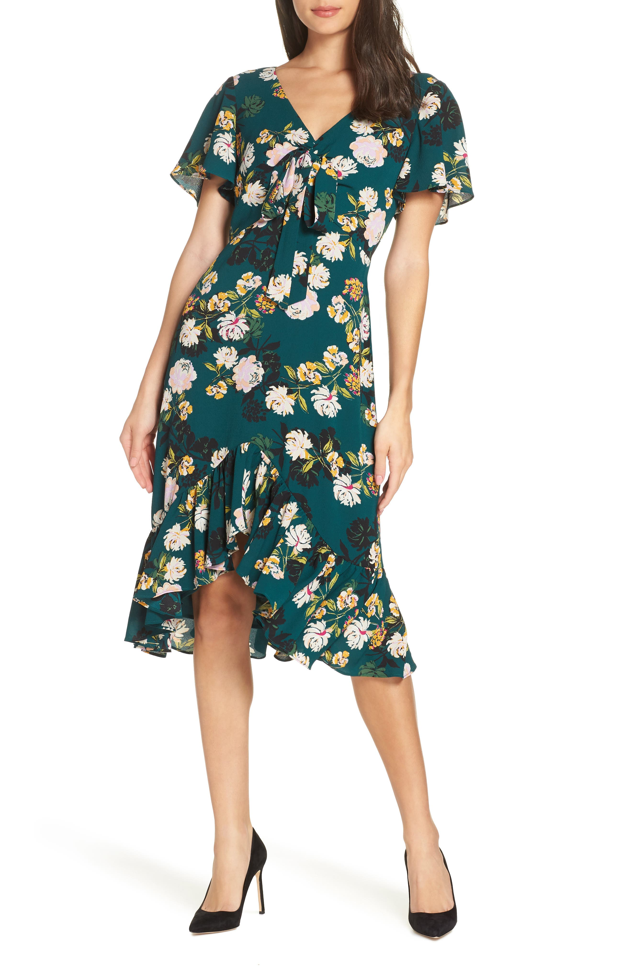 CHARLES HENRY Floral Print Ruffle Hem Dress in Dark Teal Floral
