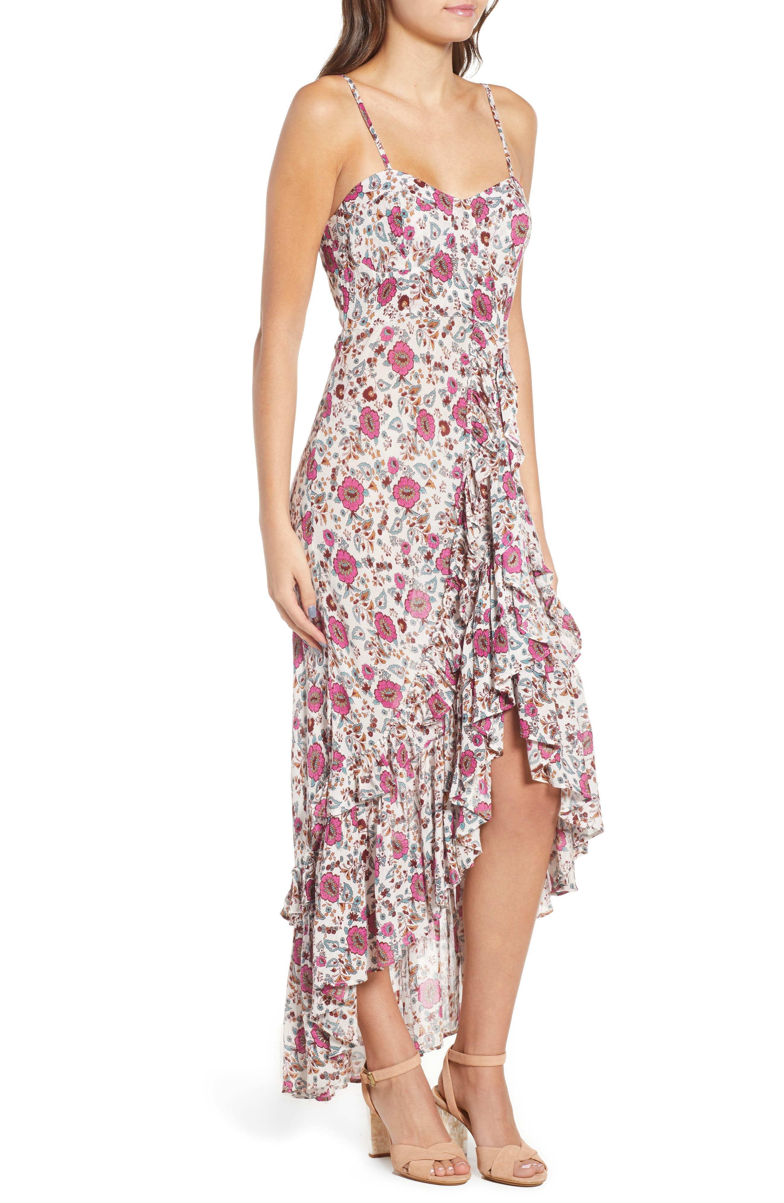 Summer Bloom Ruffle Hem High/Low Dress,                             Alternate thumbnail 3, color,                             PINK