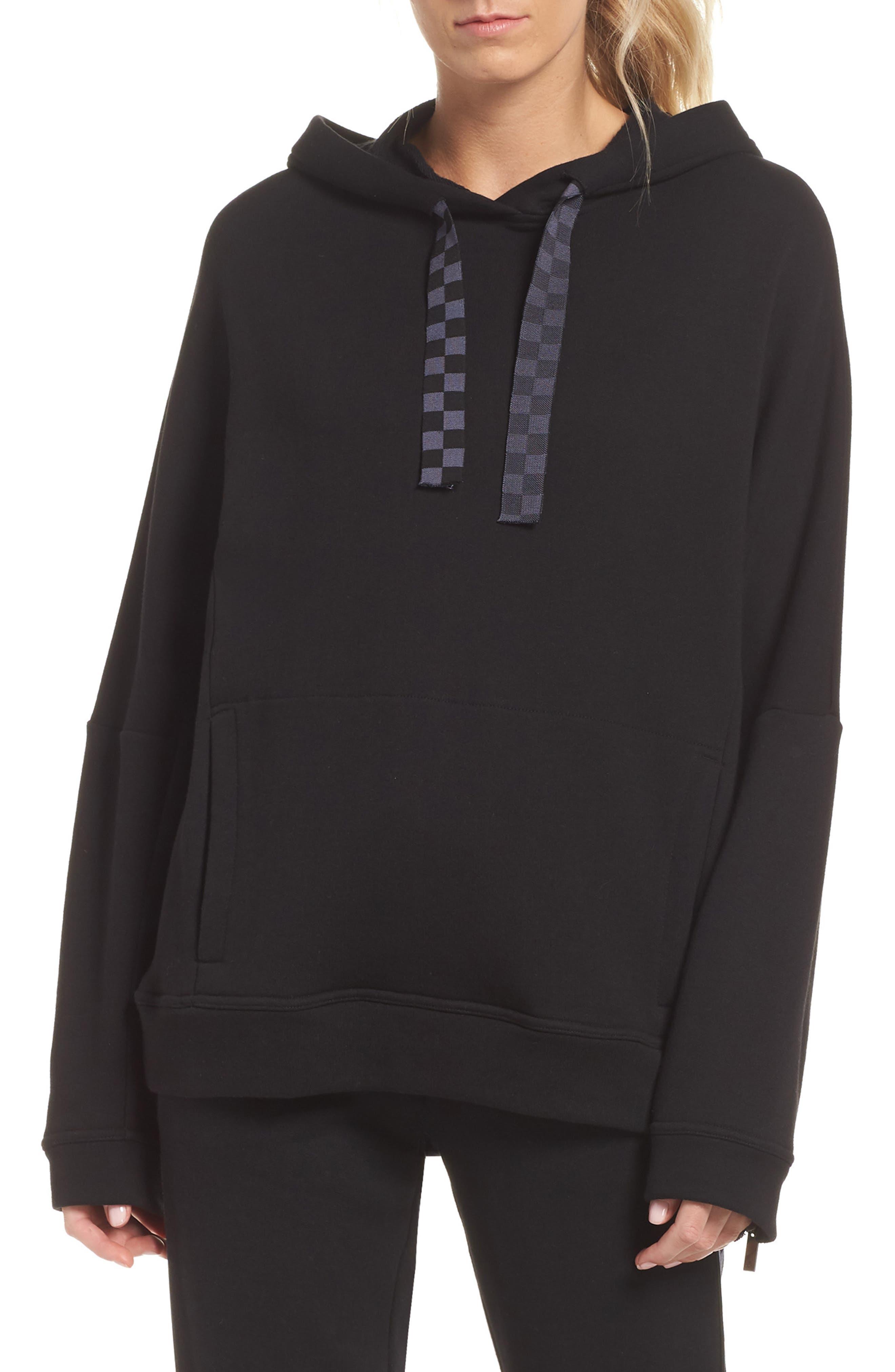 Shift Hoodie Sweatshirt,                             Main thumbnail 1, color,                             BLACK/ CHECKER