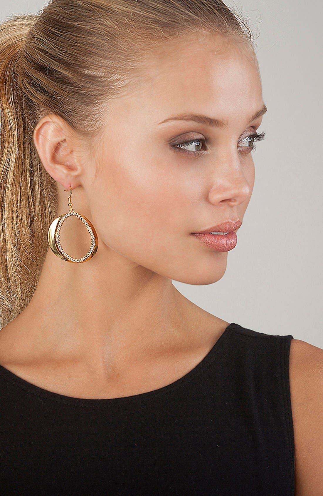 Crystal Front Hoop Earrings,                             Alternate thumbnail 3, color,                             GOLD