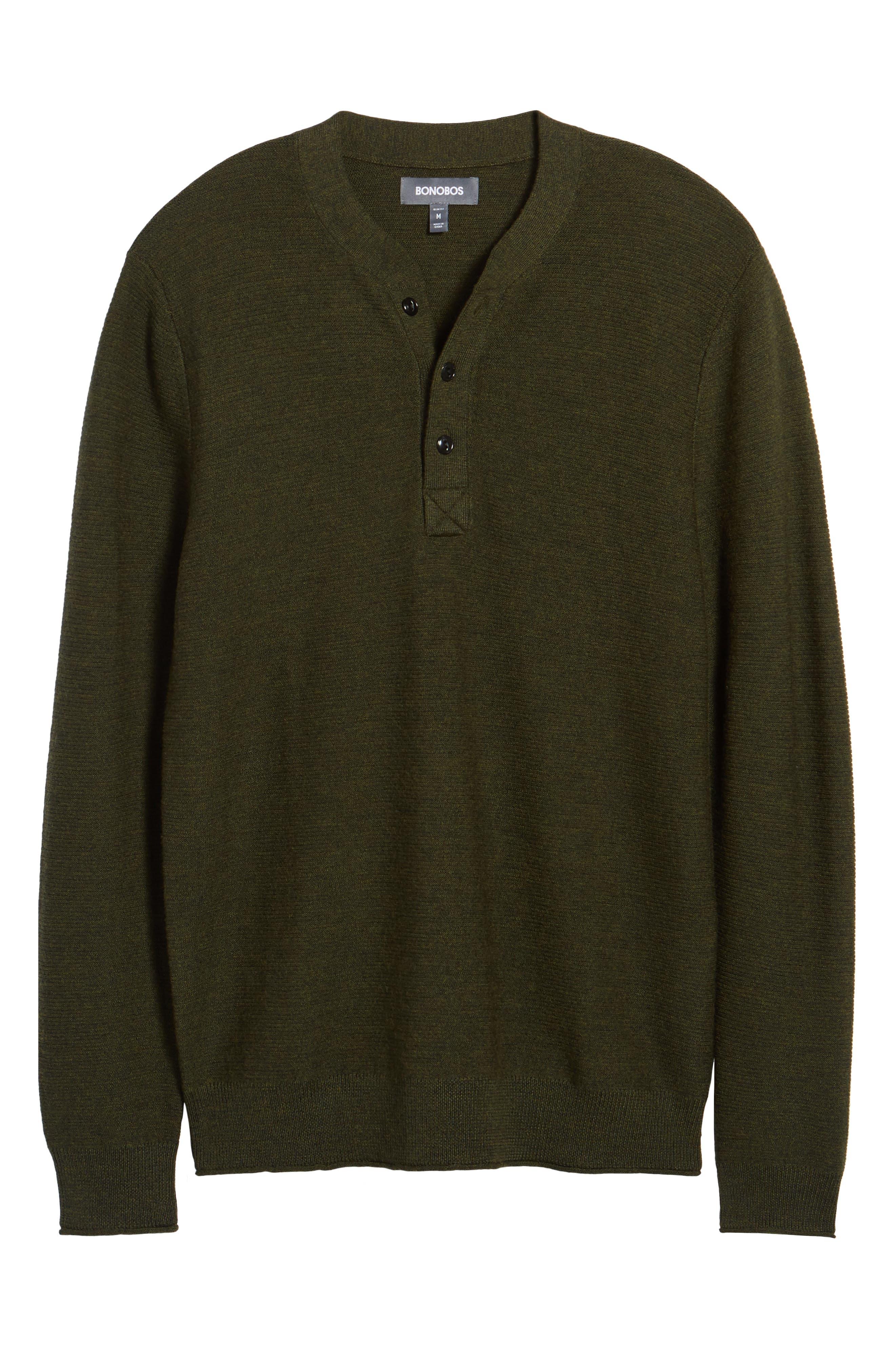 Slim Fit Merino Long Sleeve Henley Sweater,                             Alternate thumbnail 6, color,                             300