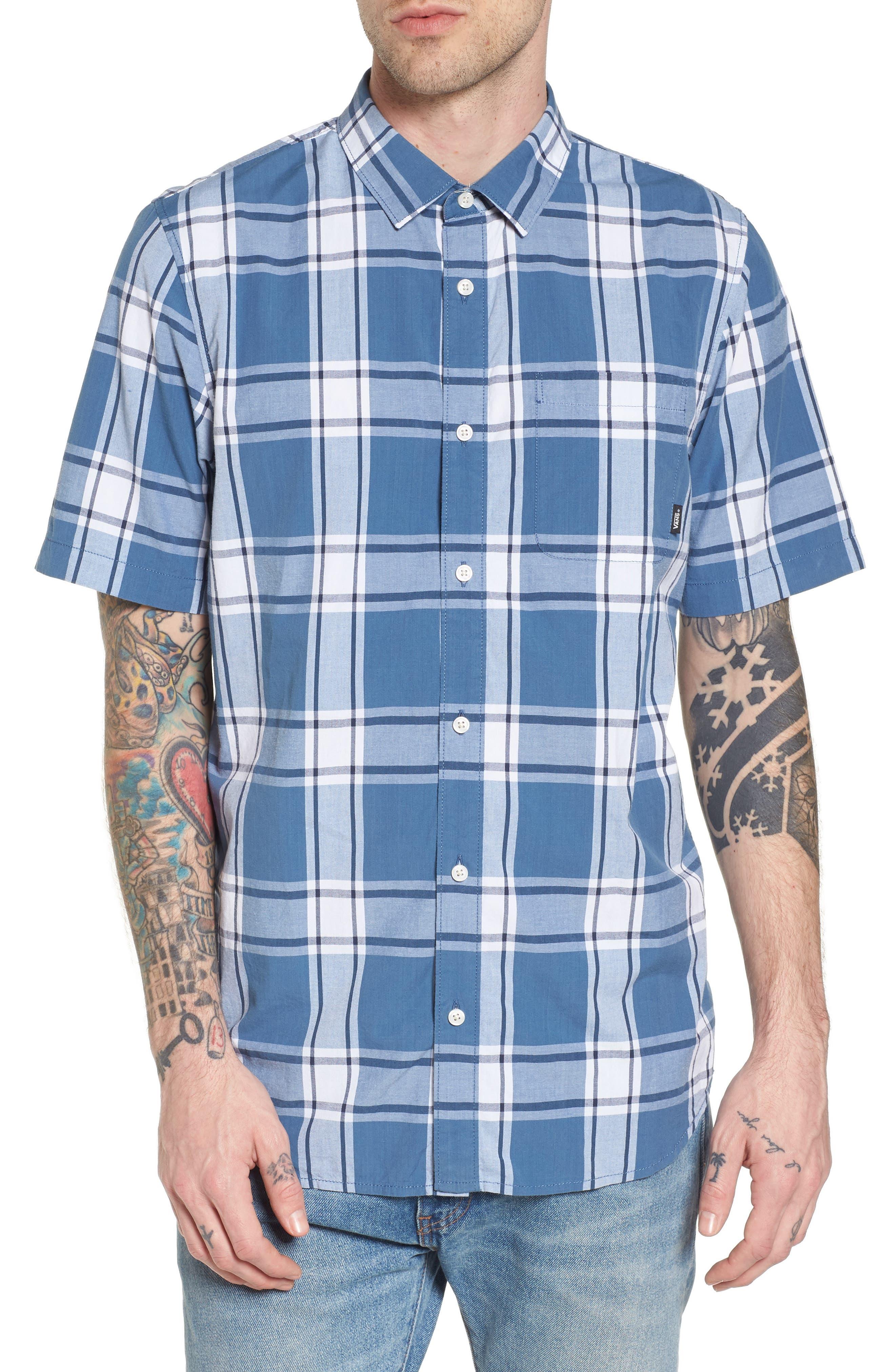 Mayfield Short Sleeve Plaid Shirt,                         Main,                         color, 420