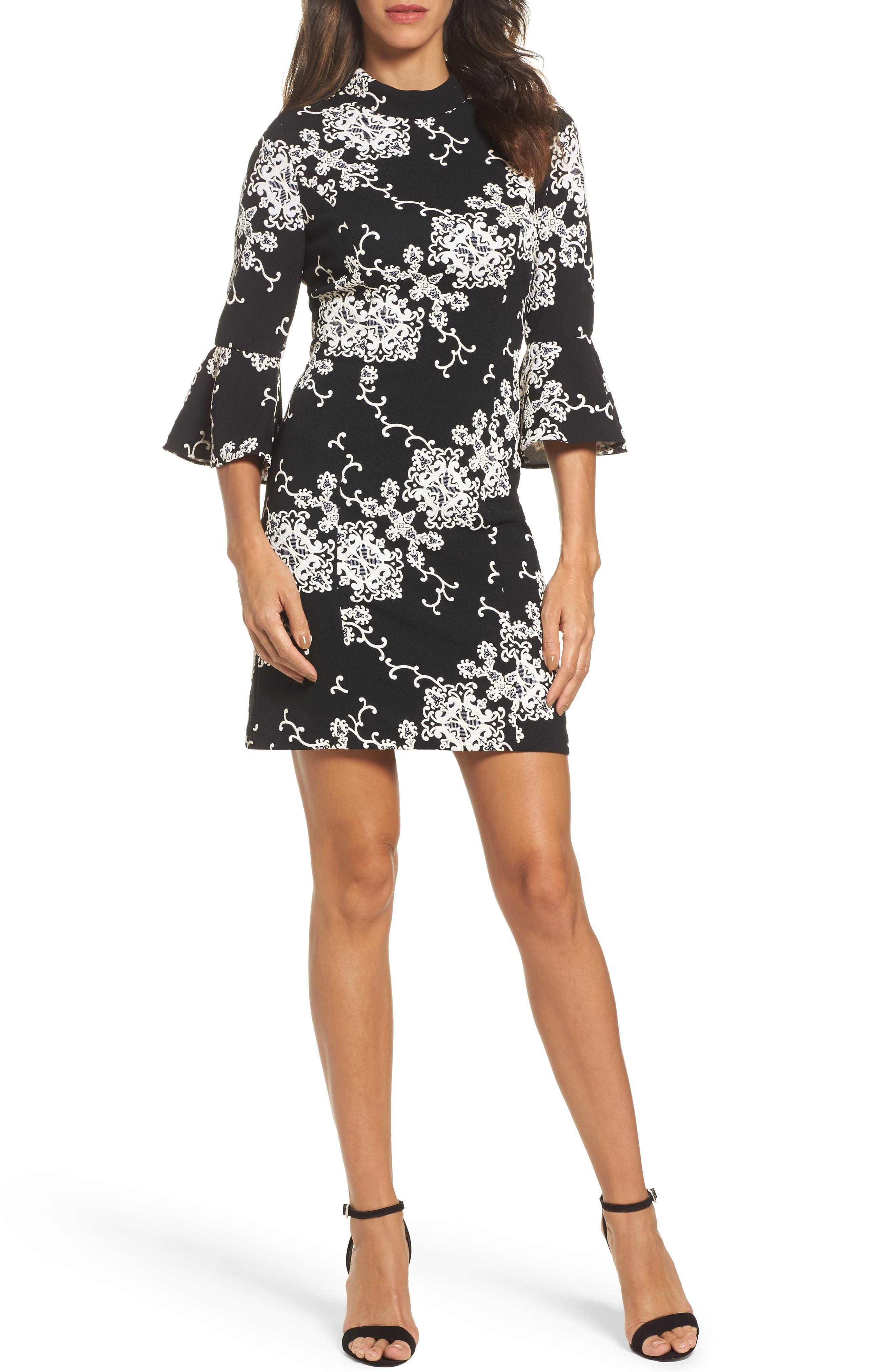 Flare Sleeve Sheath Dress,                             Main thumbnail 1, color,                             016