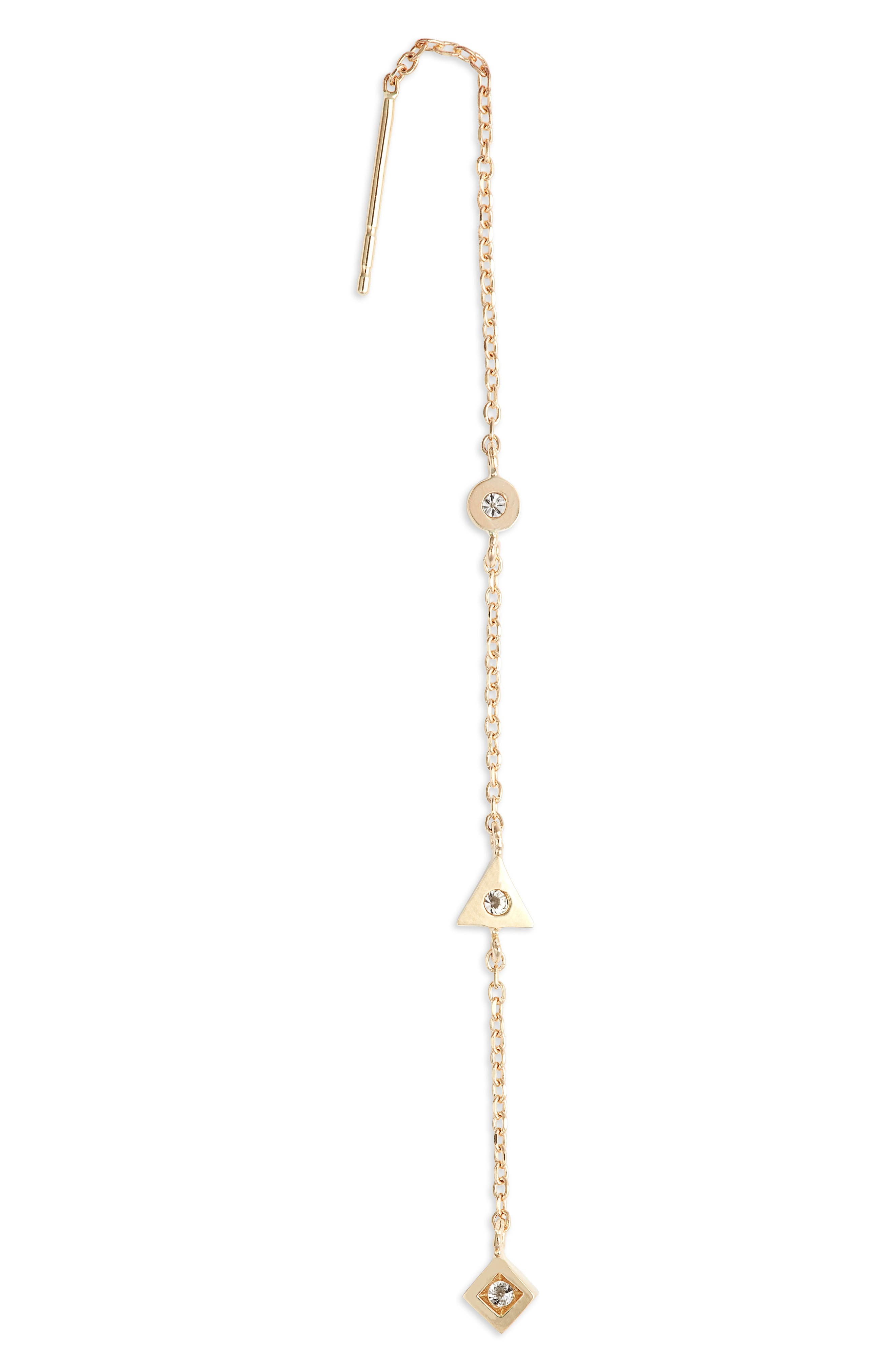 Cleo Diamond Linear Earrings,                             Alternate thumbnail 3, color,                             GOLD