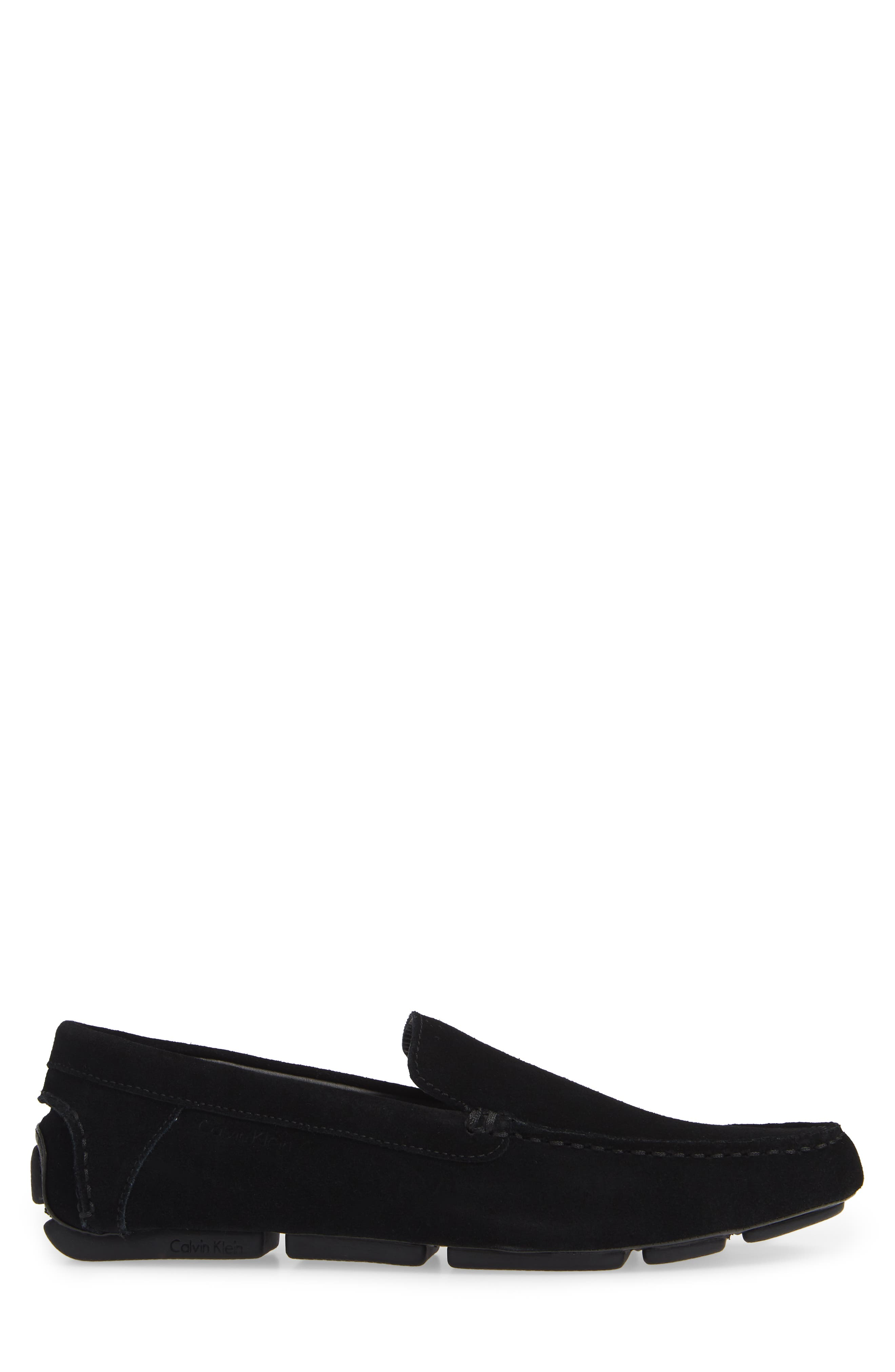 Miguel Textured Driving Loafer,                             Alternate thumbnail 3, color,                             BLACK CALF SUEDE