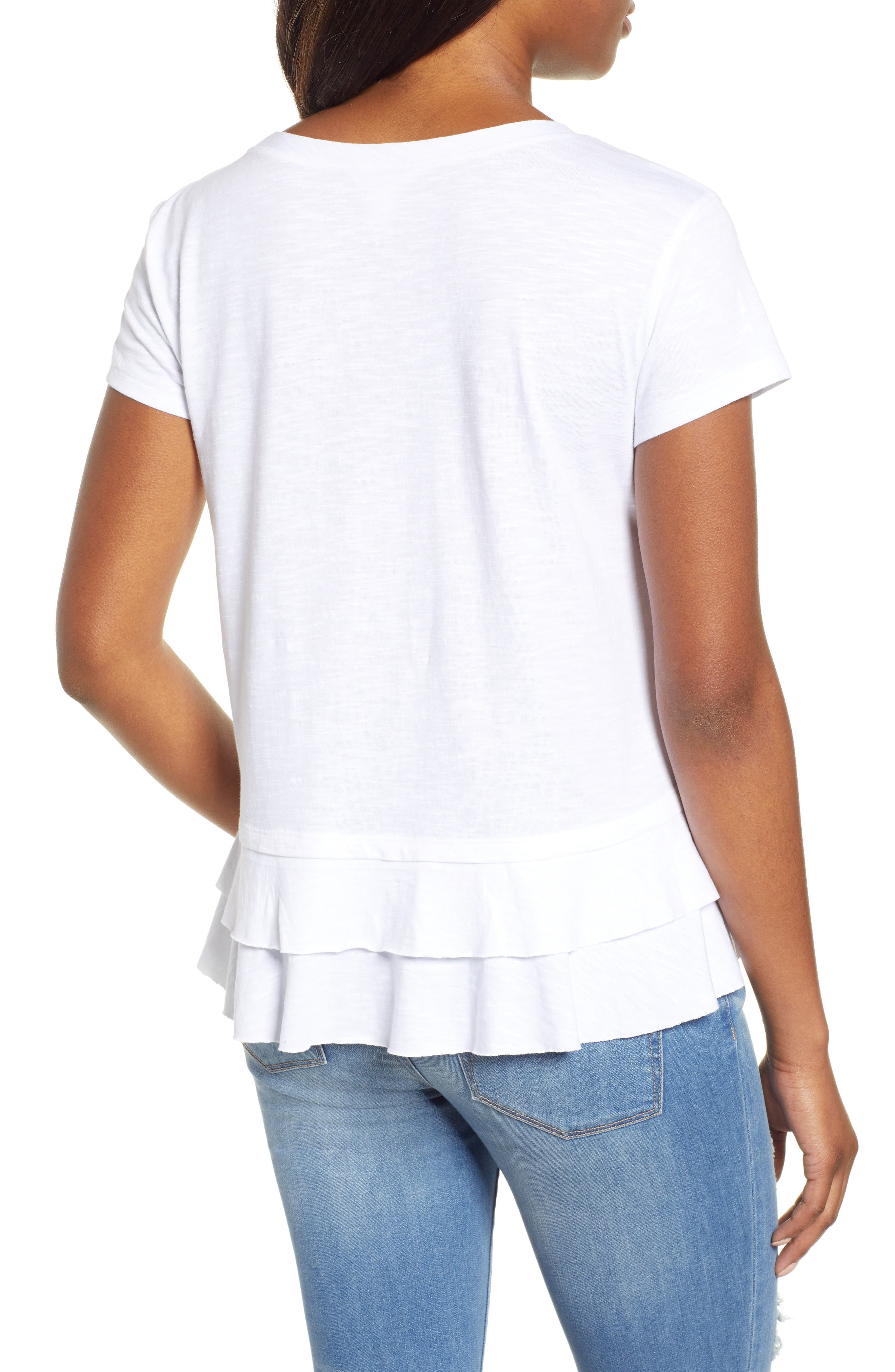 CASLON<SUP>®</SUP>,                             Tiered Short Sleeve Tee,                             Alternate thumbnail 2, color,                             WHITE