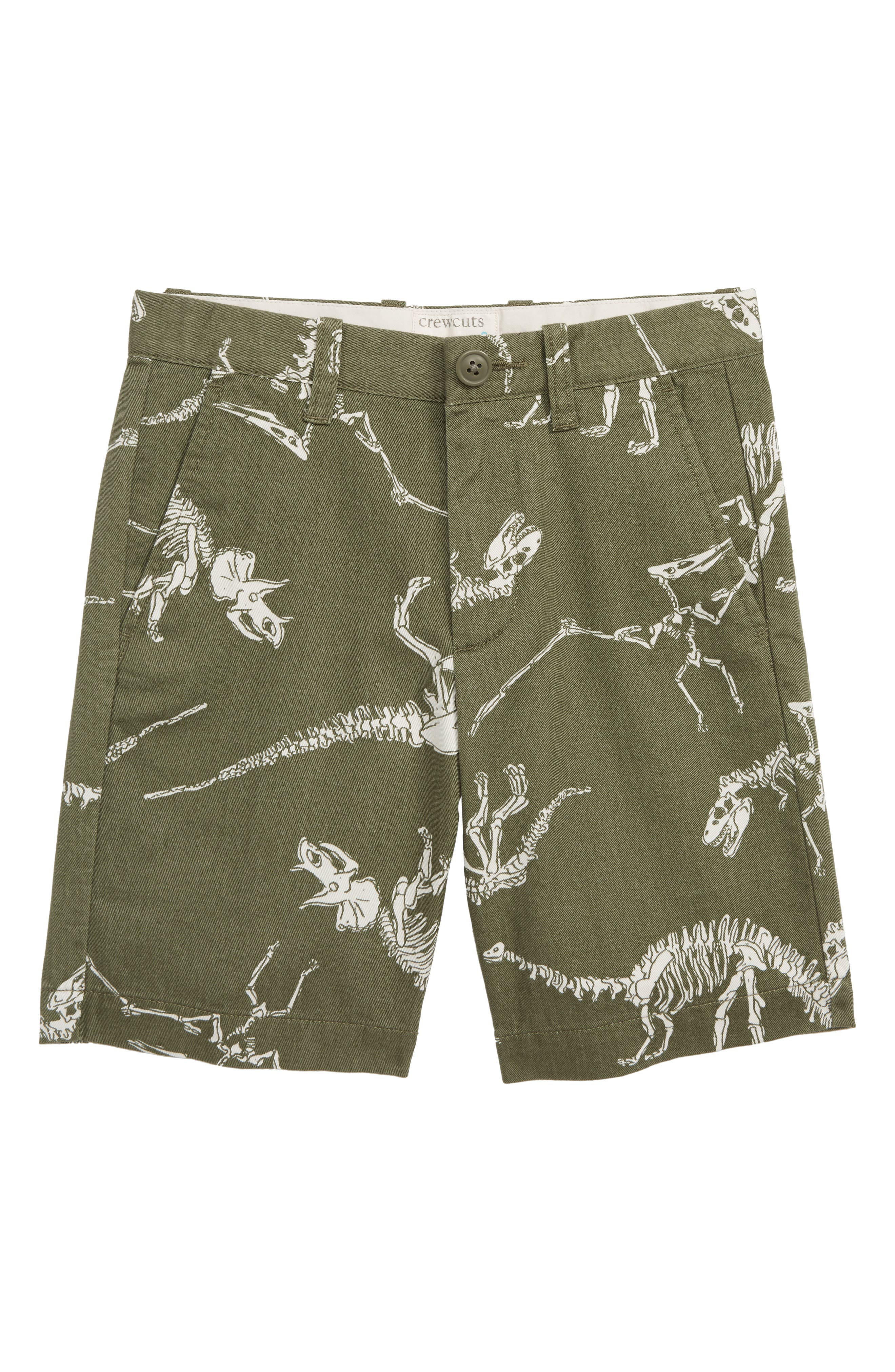 CREWCUTS BY J.CREW Stanton Dino Print Shorts, Main, color, LOVELY DINO BONE GREEN NATURAL