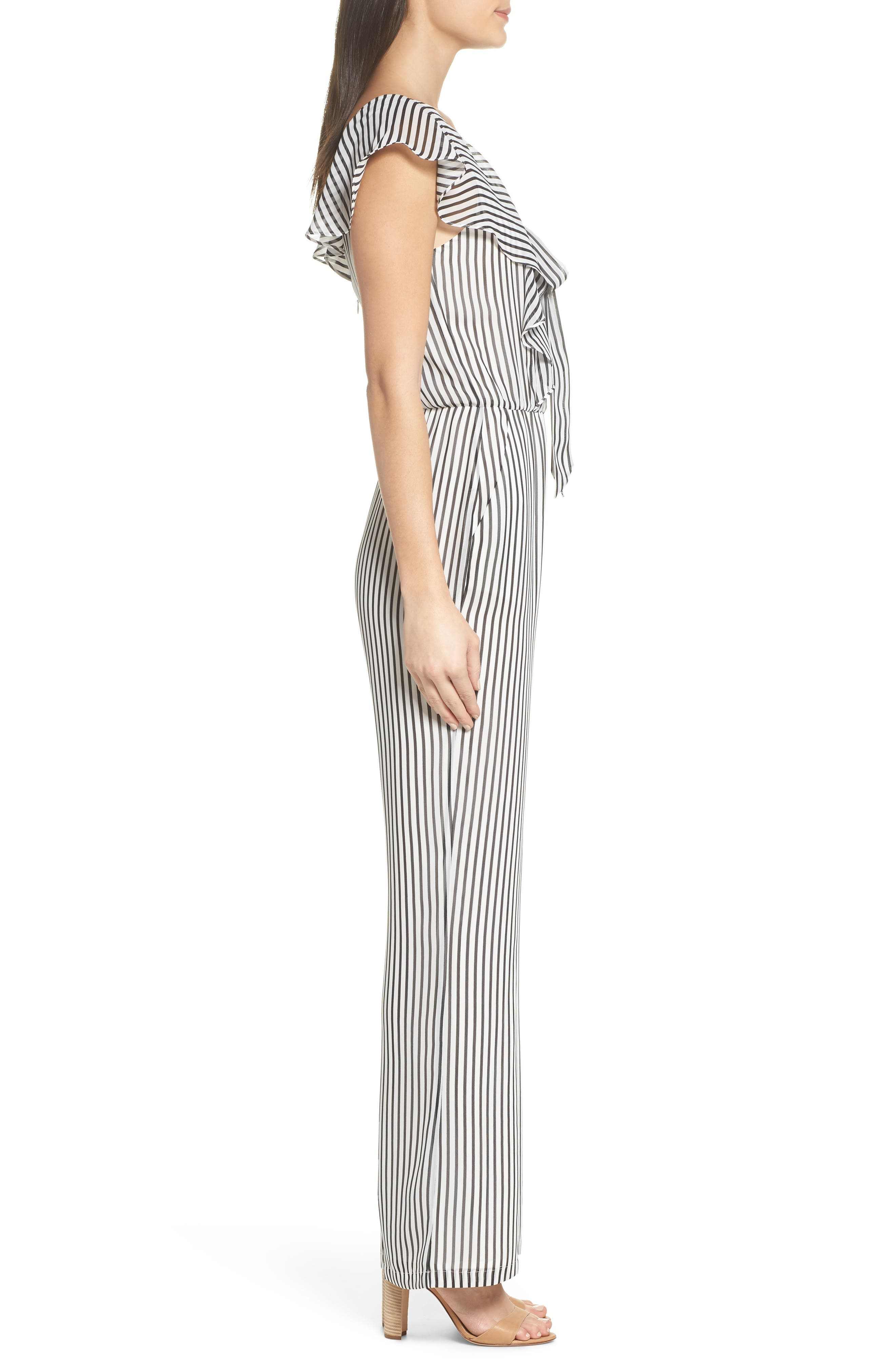 Cherry on Top Stripe Ruffle Jumpsuit,                             Alternate thumbnail 3, color,
