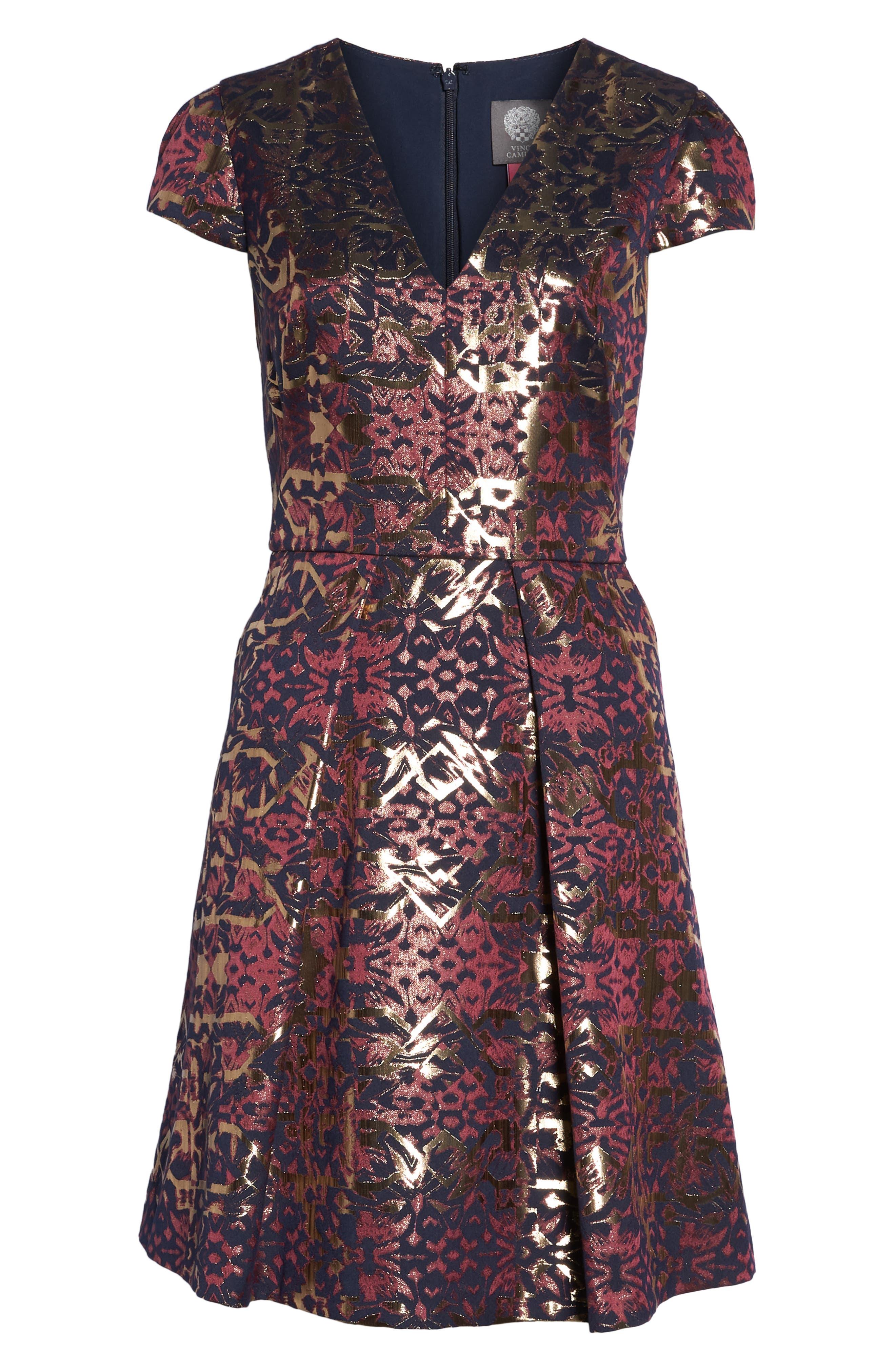 Metallic Jacquard Fit & Flare Dress,                             Alternate thumbnail 7, color,                             PINK MULTI