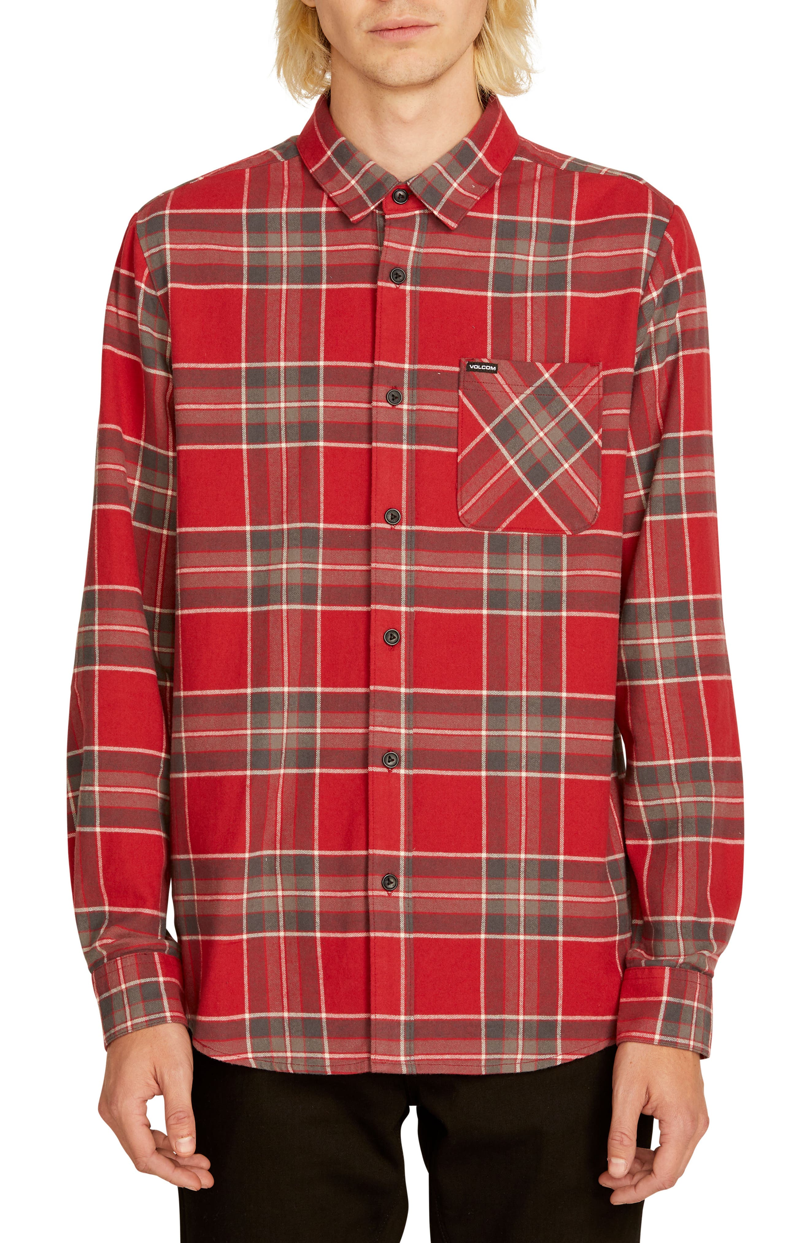 Volcom Caden Plaid Flannel Shirt, Burgundy