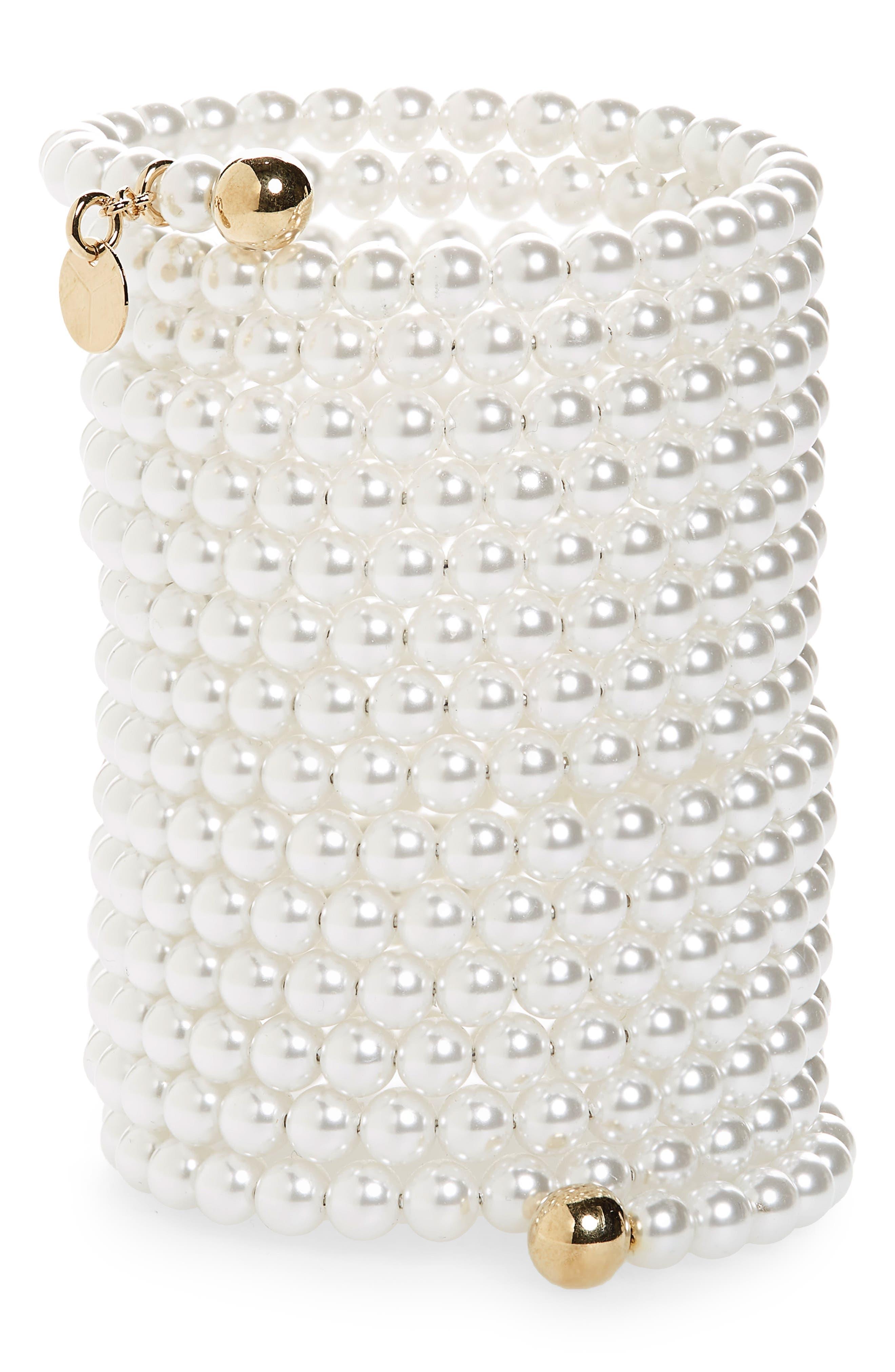 Cleopatra Imitation Pearl Bracelet,                             Main thumbnail 1, color,                             WHITE