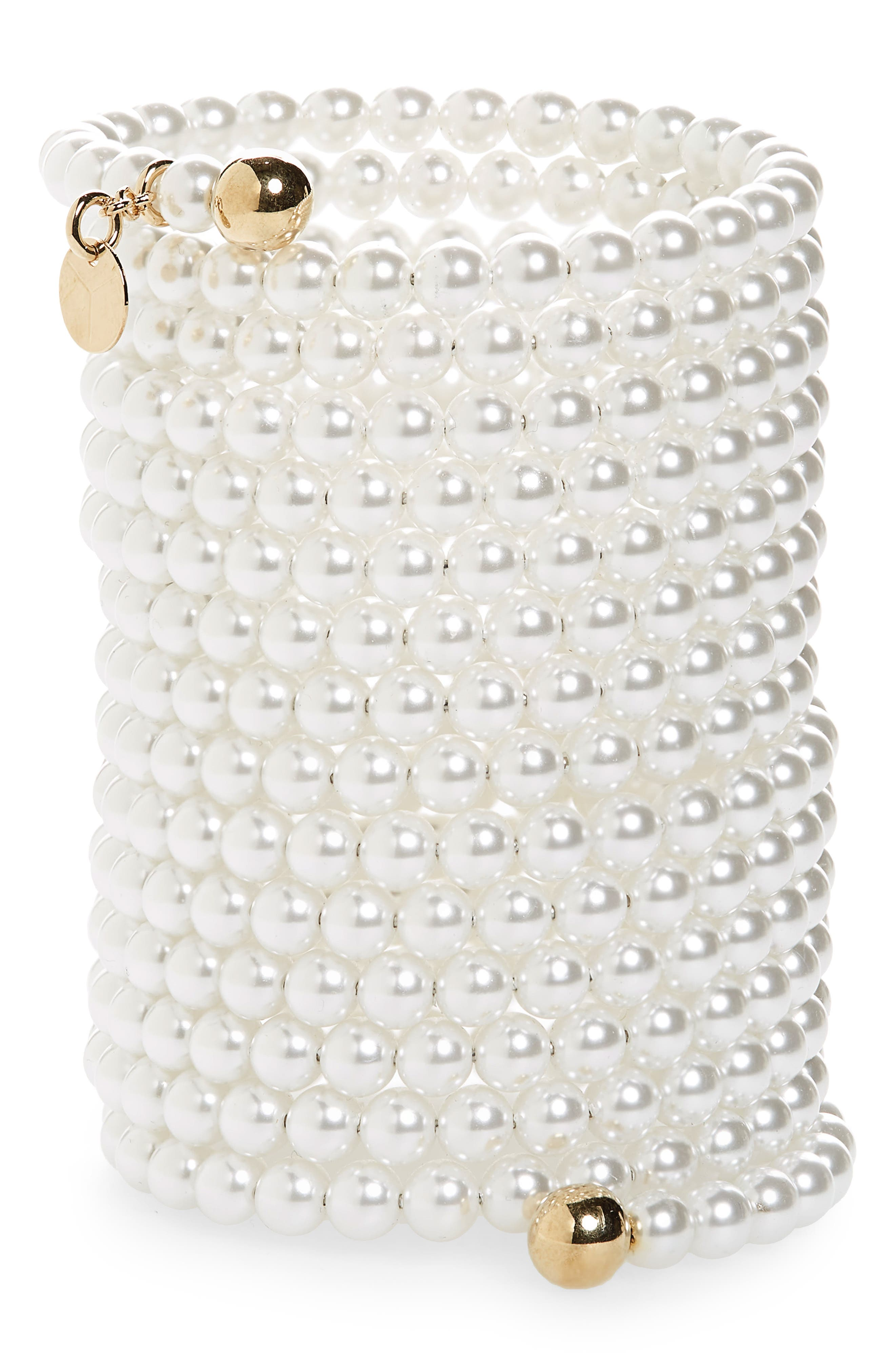 Cleopatra Imitation Pearl Bracelet,                         Main,                         color, WHITE