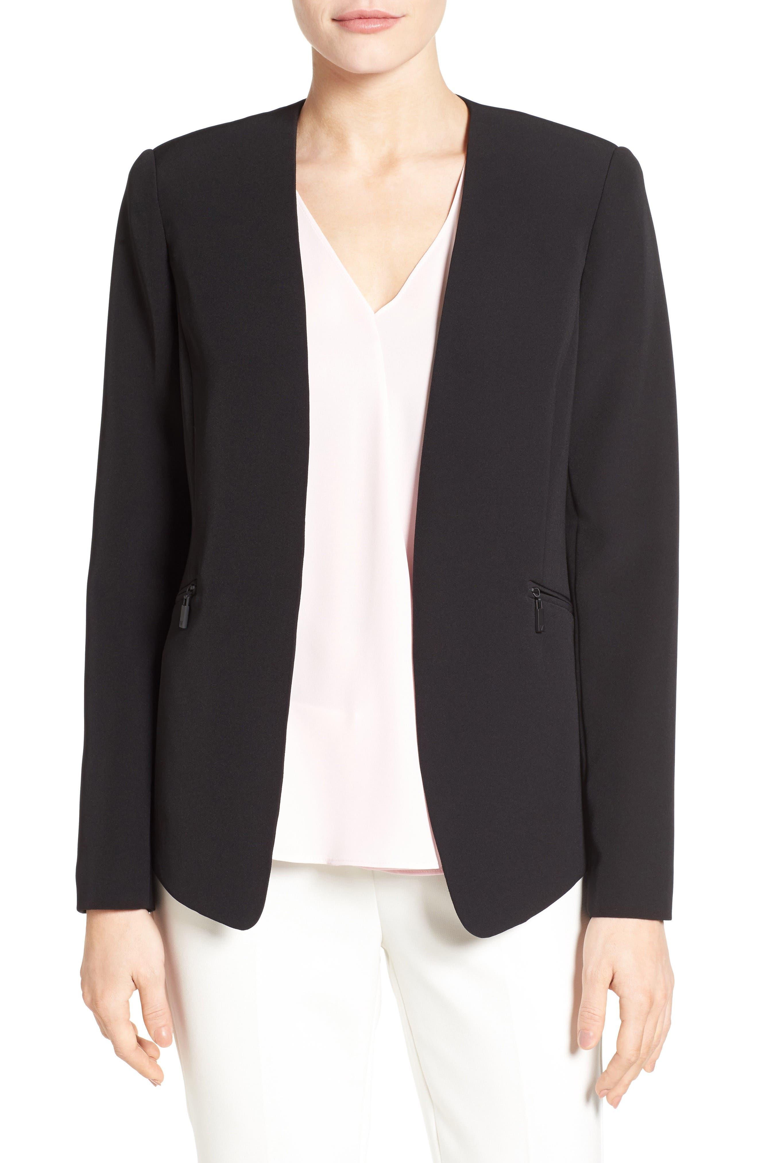 Zip Pocket Blazer,                         Main,                         color, RICH BLACK