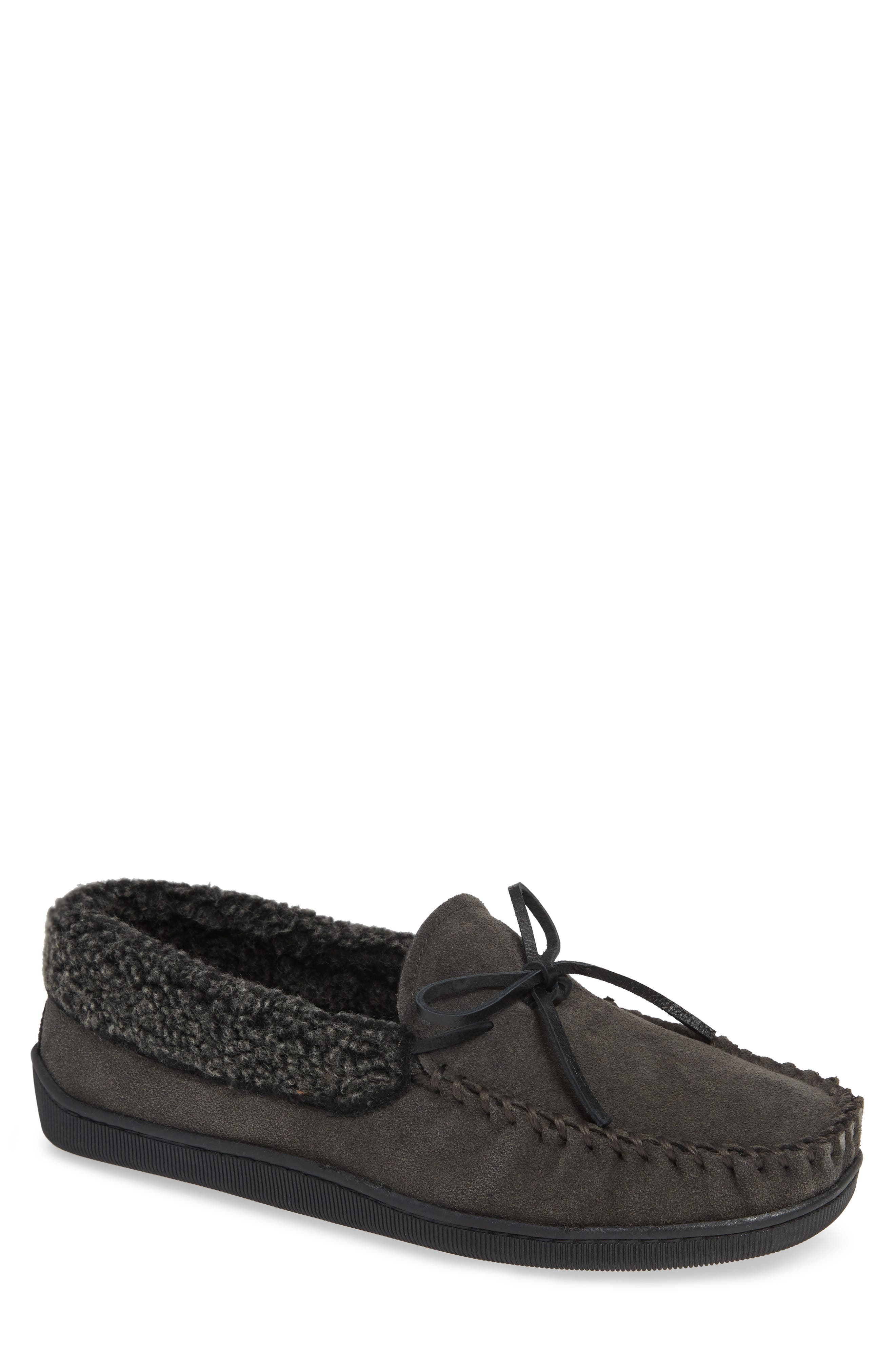 Allen Moccasin Slipper,                         Main,                         color, CHARCOAL SUEDE