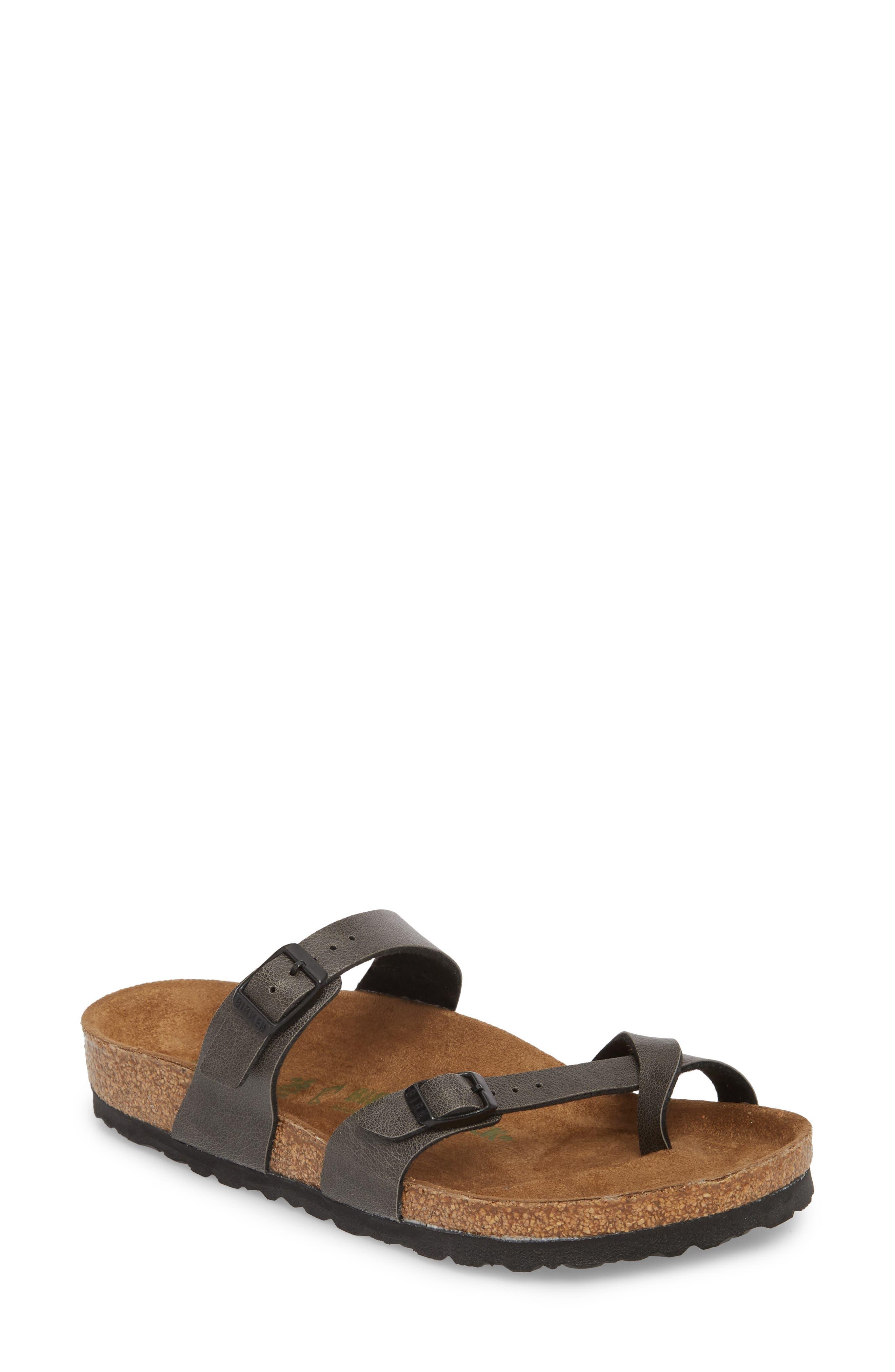 Mayari Birko-Flor<sup>™</sup> Slide Sandal,                         Main,                         color, ANTHRACITE LEATHER