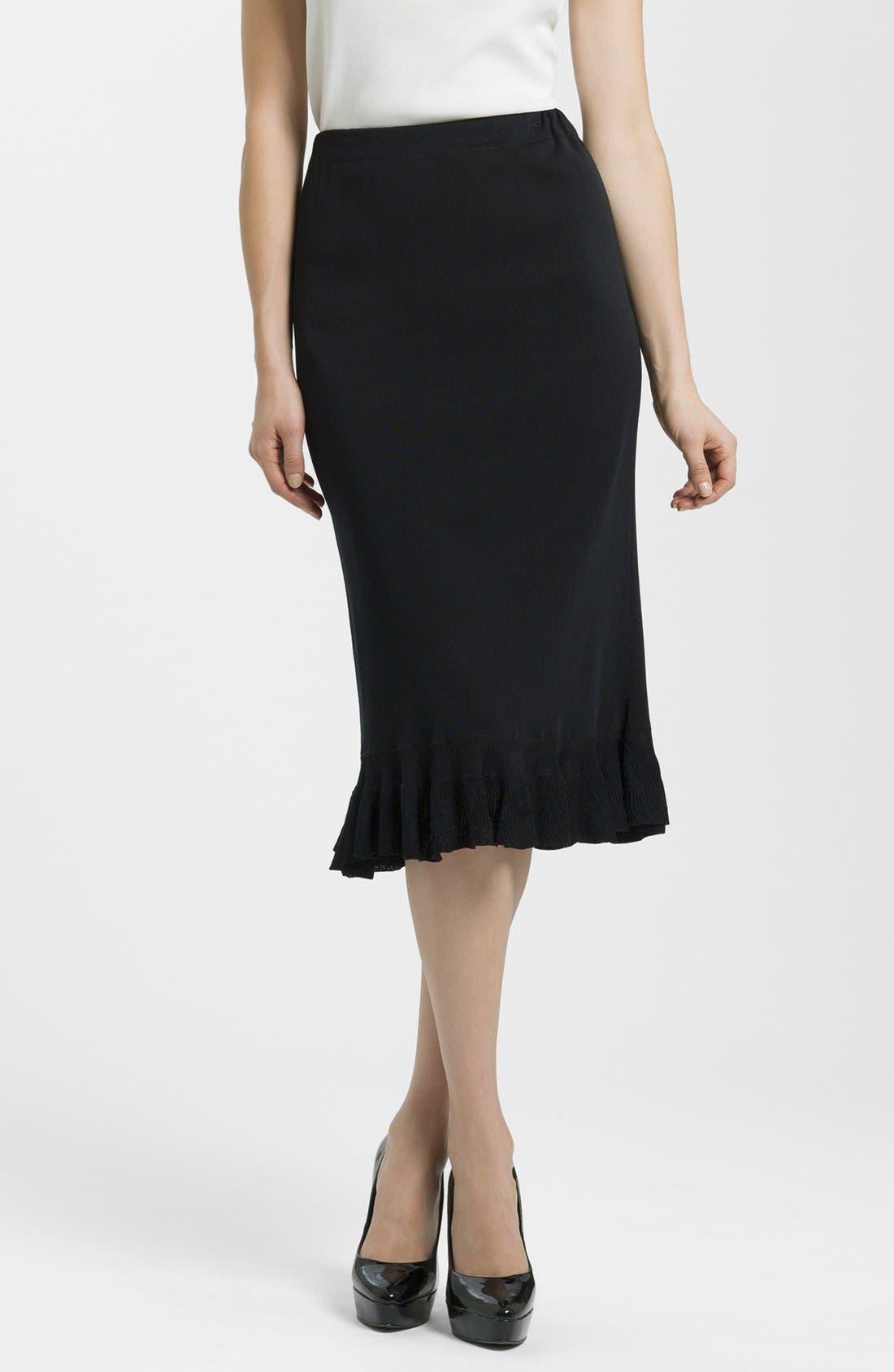 Ruffle Hem Knit Midi Skirt,                             Main thumbnail 1, color,                             BLACK