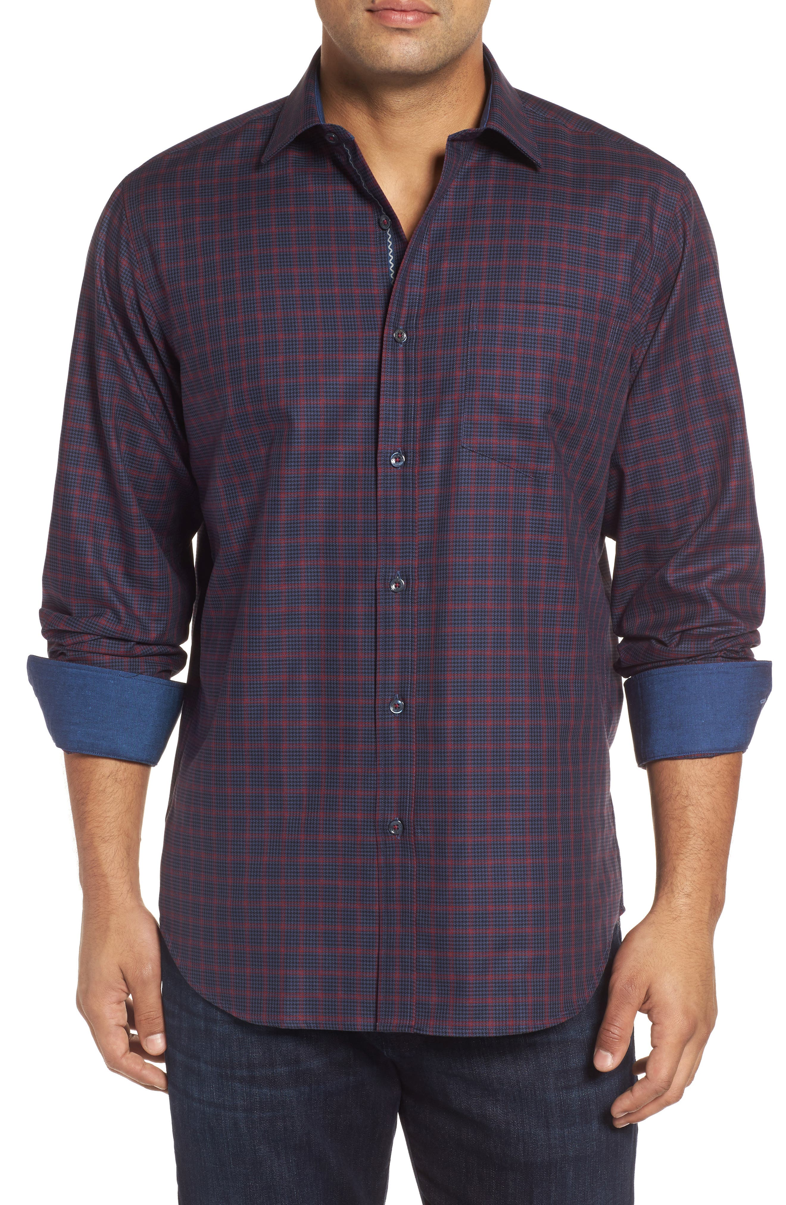 Classic Fit Houndstooth Check Sport Shirt,                         Main,                         color, 408