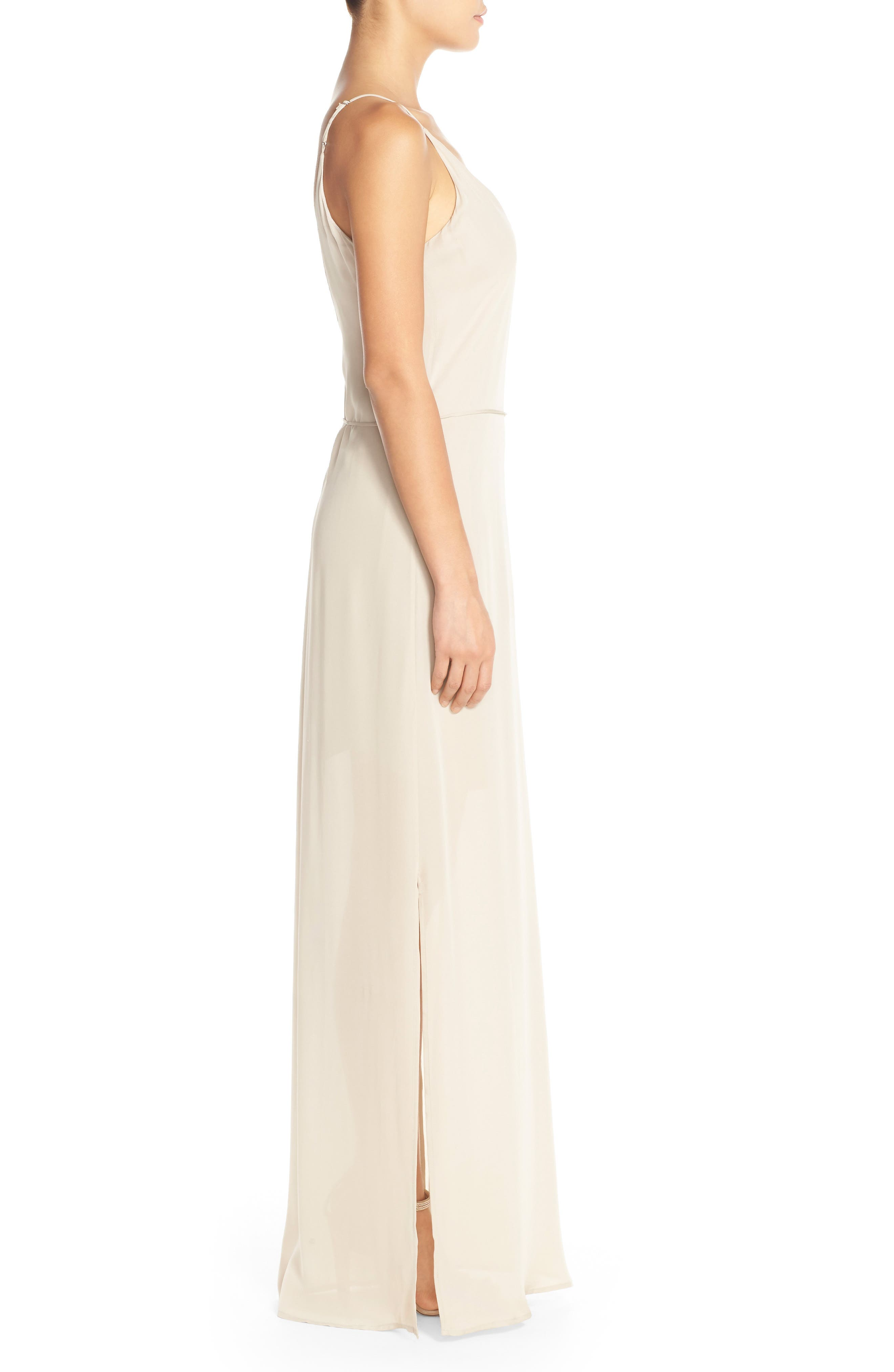 'Harlow' Belted Silk Georgette Deep V-Back Gown,                             Alternate thumbnail 3, color,                             NUDE