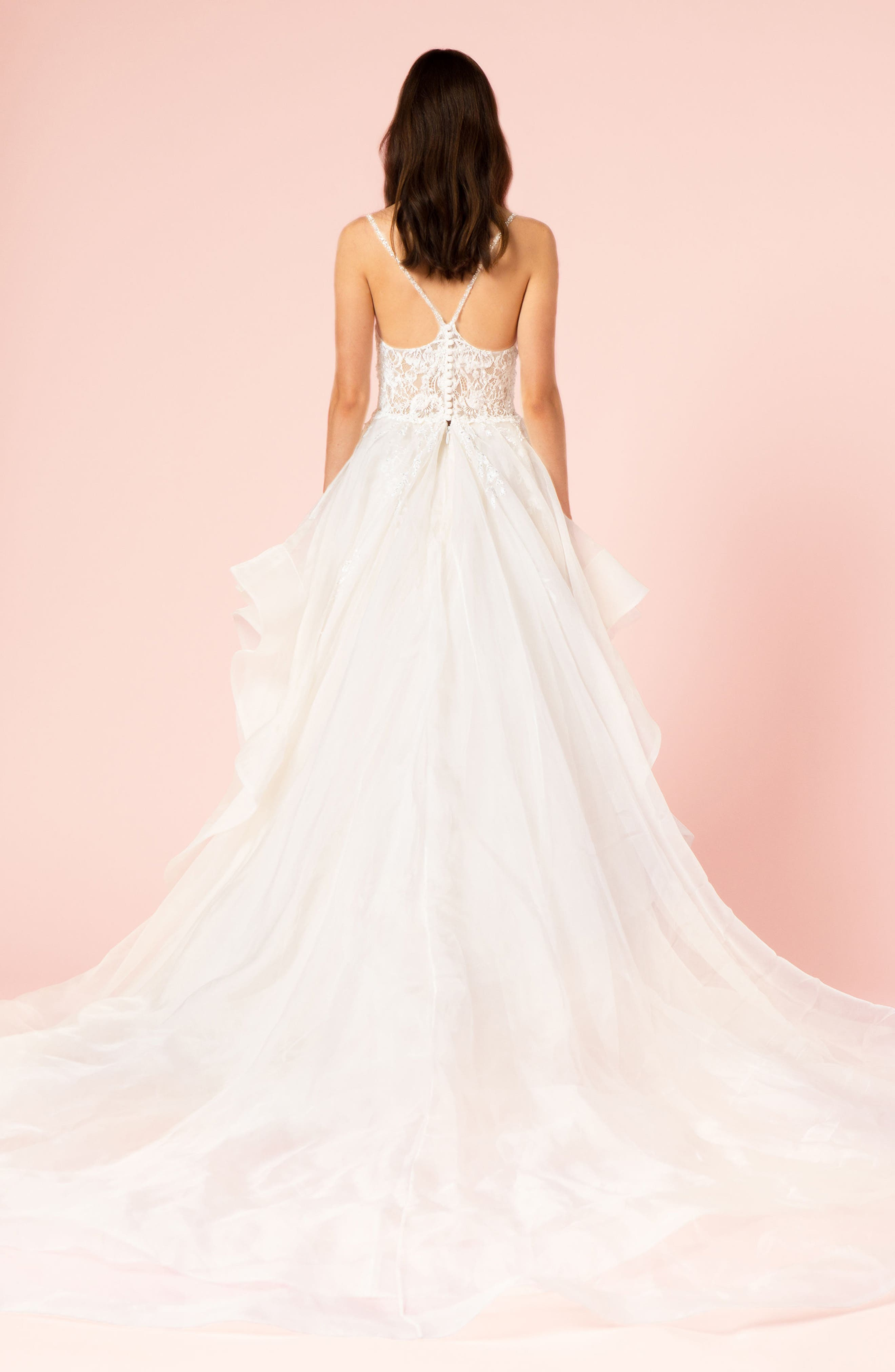 Embellished Lace & Organza Ballgown,                             Alternate thumbnail 2, color,                             SILK WHITE/ SILK WHITE