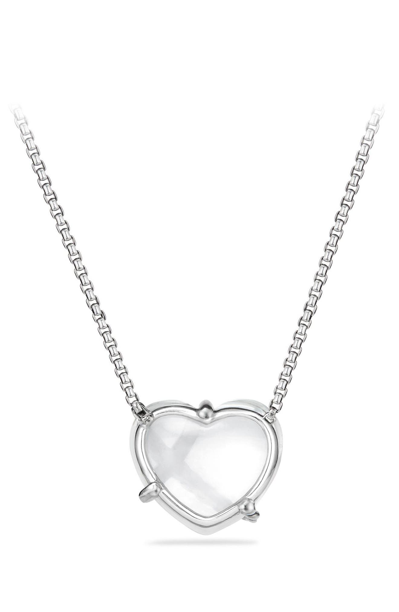 Le Petite Coeur Sculpted Heart Chain Necklace with Diamonds,                             Alternate thumbnail 3, color,                             CRYSTAL