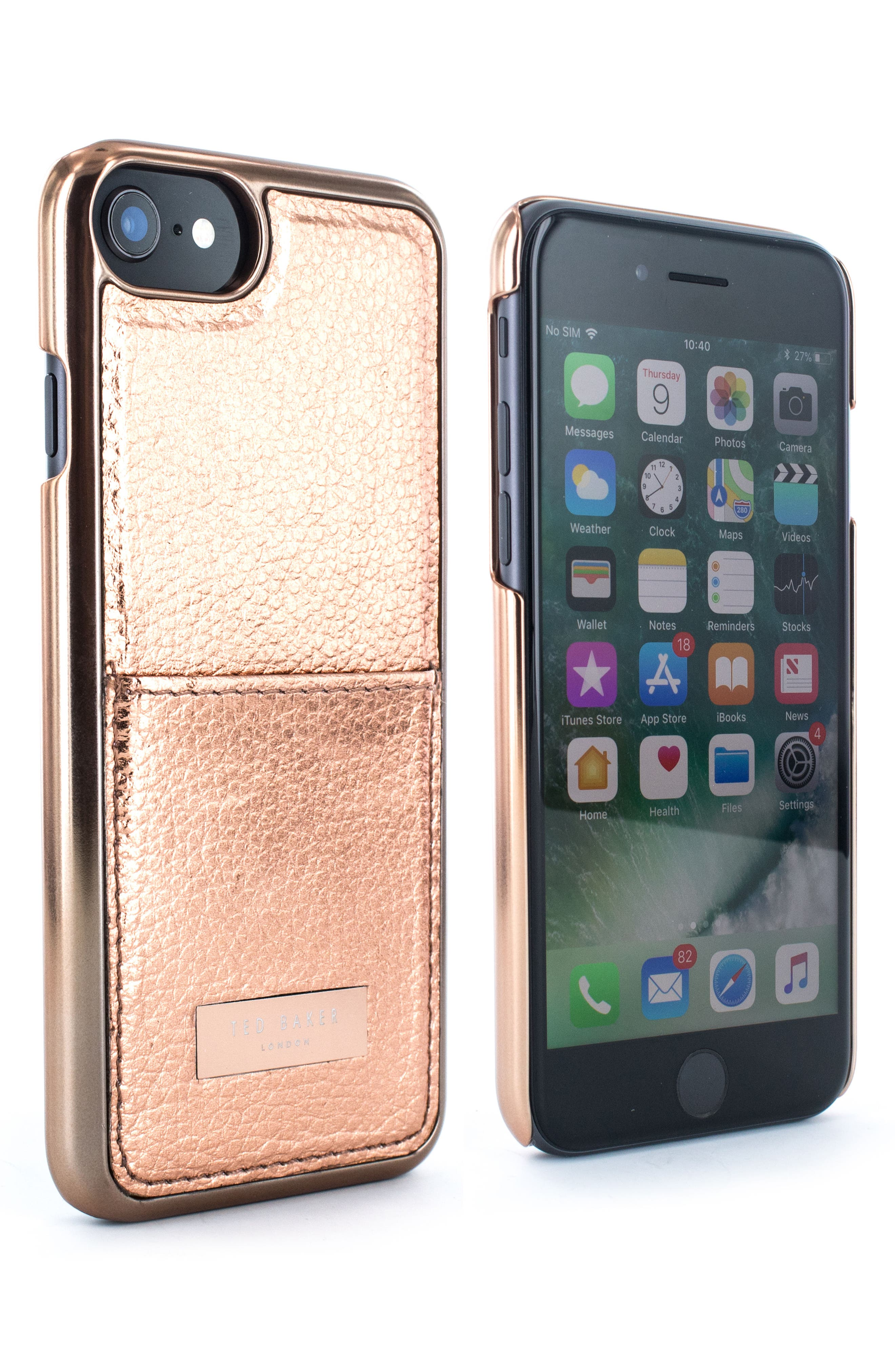Korrii Cardholder iPhone 7/8 Case,                             Alternate thumbnail 2, color,                             ROSE GOLD