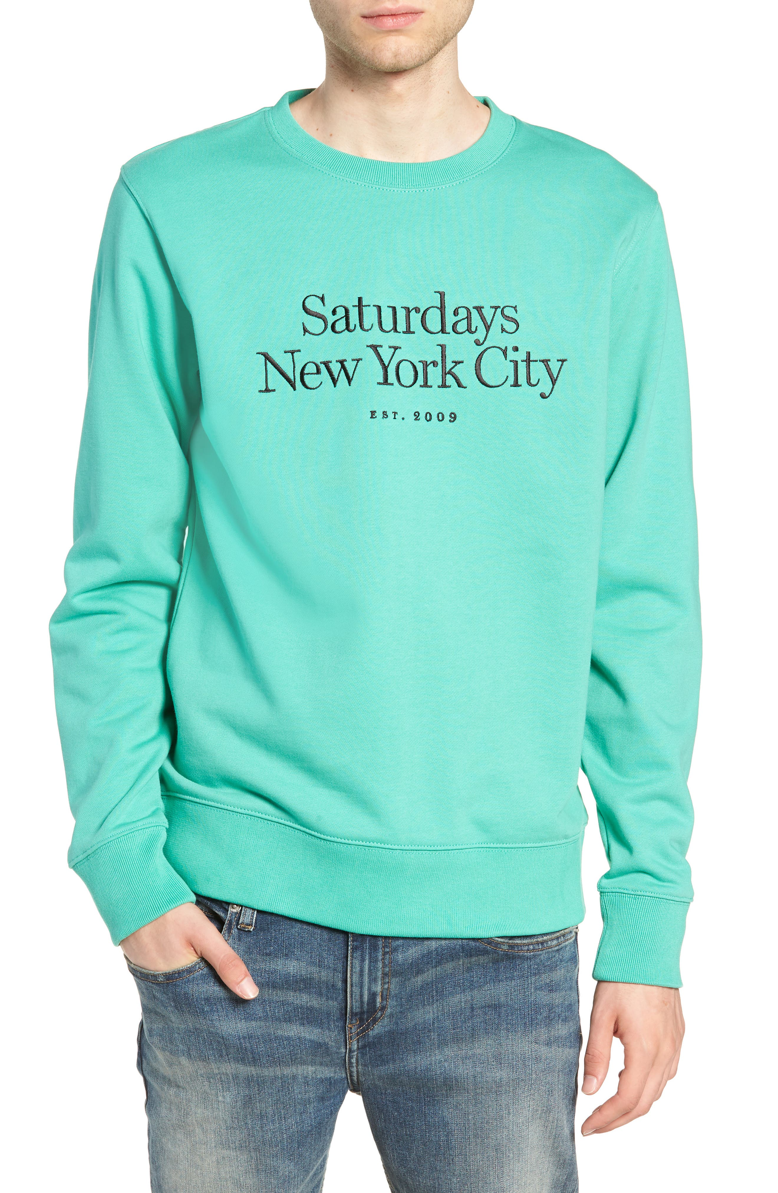 Bowery Embroidered Fleece Sweatshirt,                             Main thumbnail 1, color,                             SEAFOAM GREEN