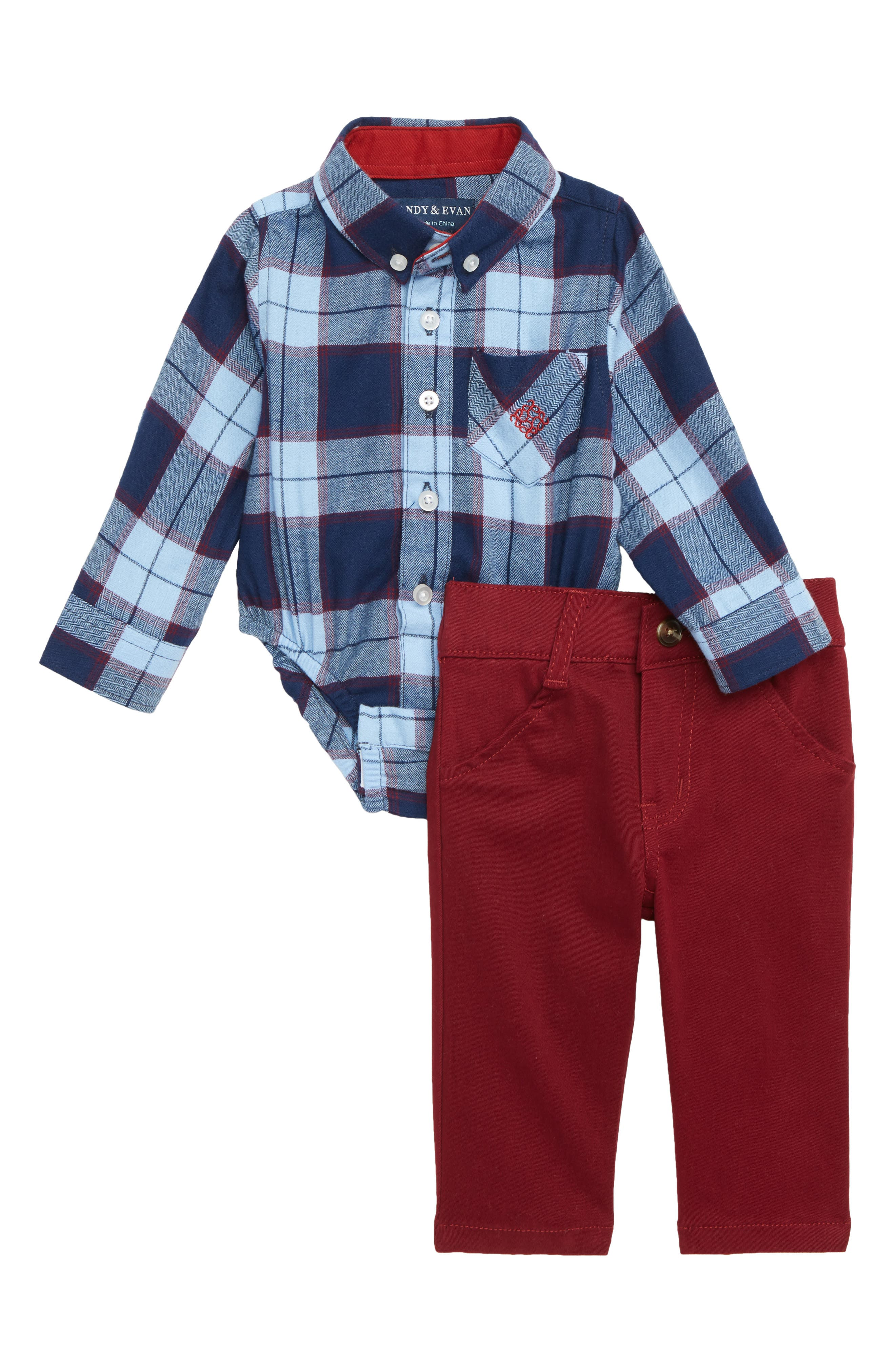 Shirtzie Flannel Bodysuit & Pants Set,                             Main thumbnail 1, color,                             BLUE