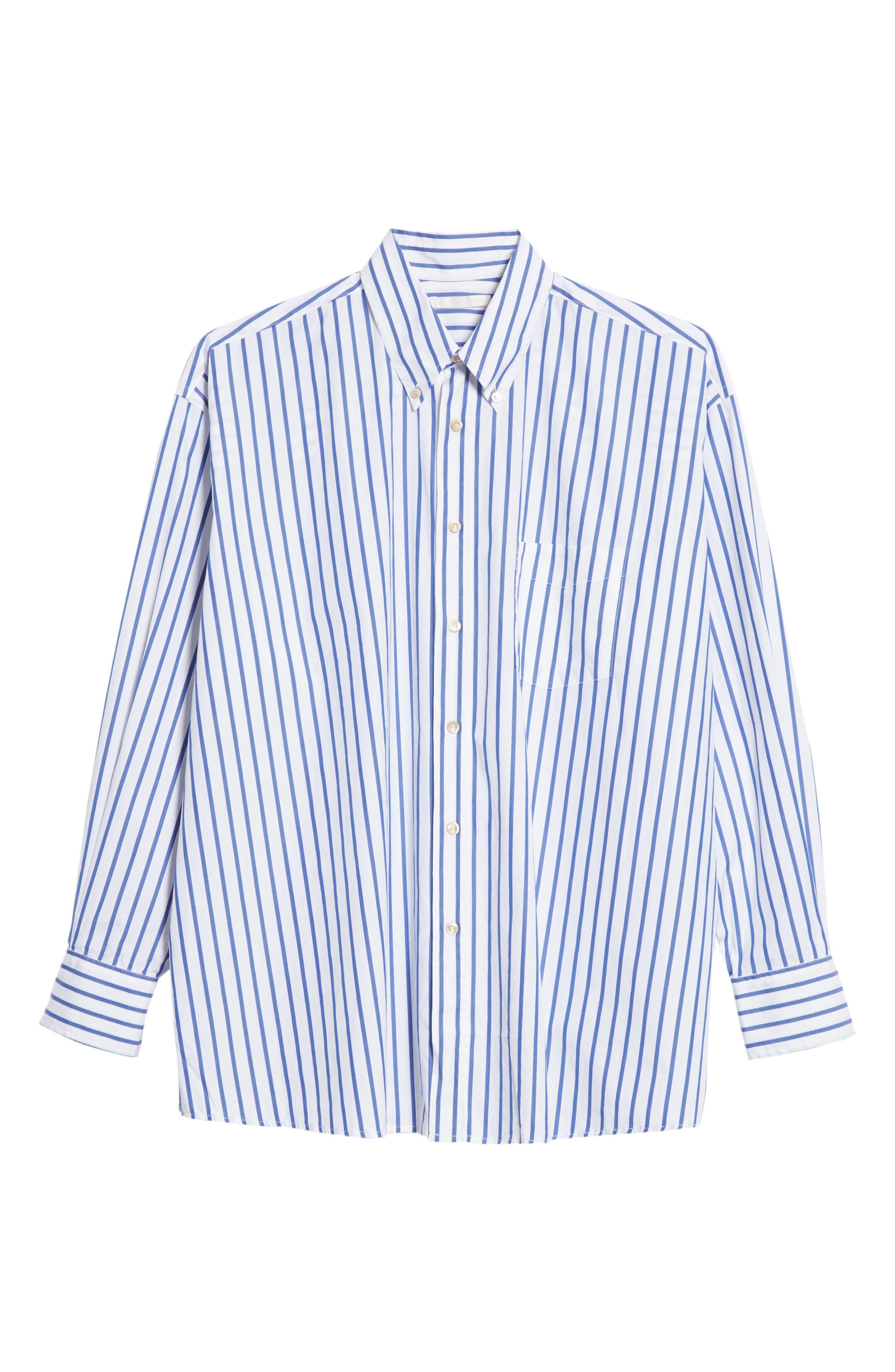 Oversize Stripe Woven Shirt,                             Alternate thumbnail 6, color,                             400