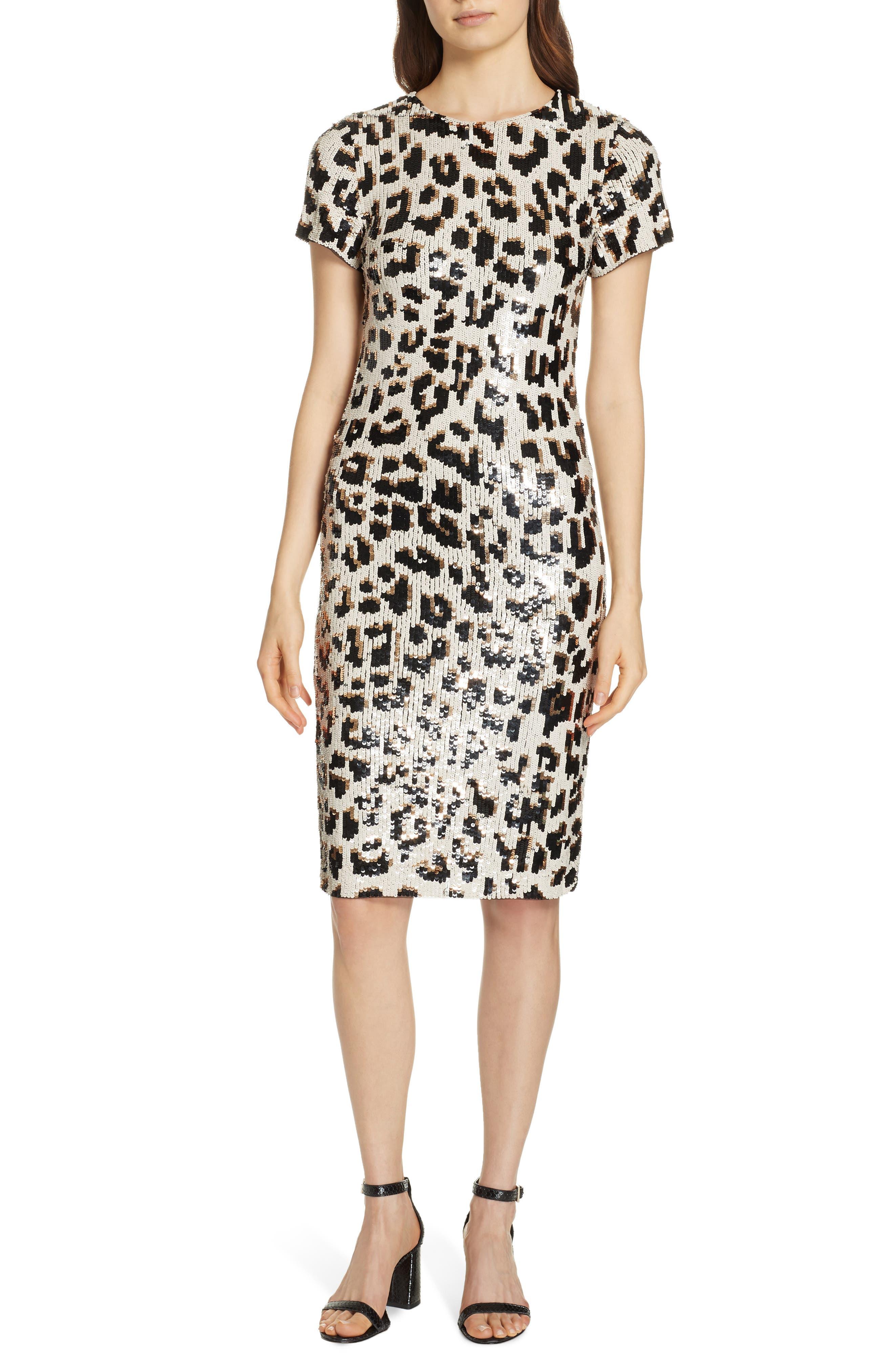 ALICE + OLIVIA,                             Nat Sequin Sheath Dress,                             Alternate thumbnail 5, color,                             LEOPARD