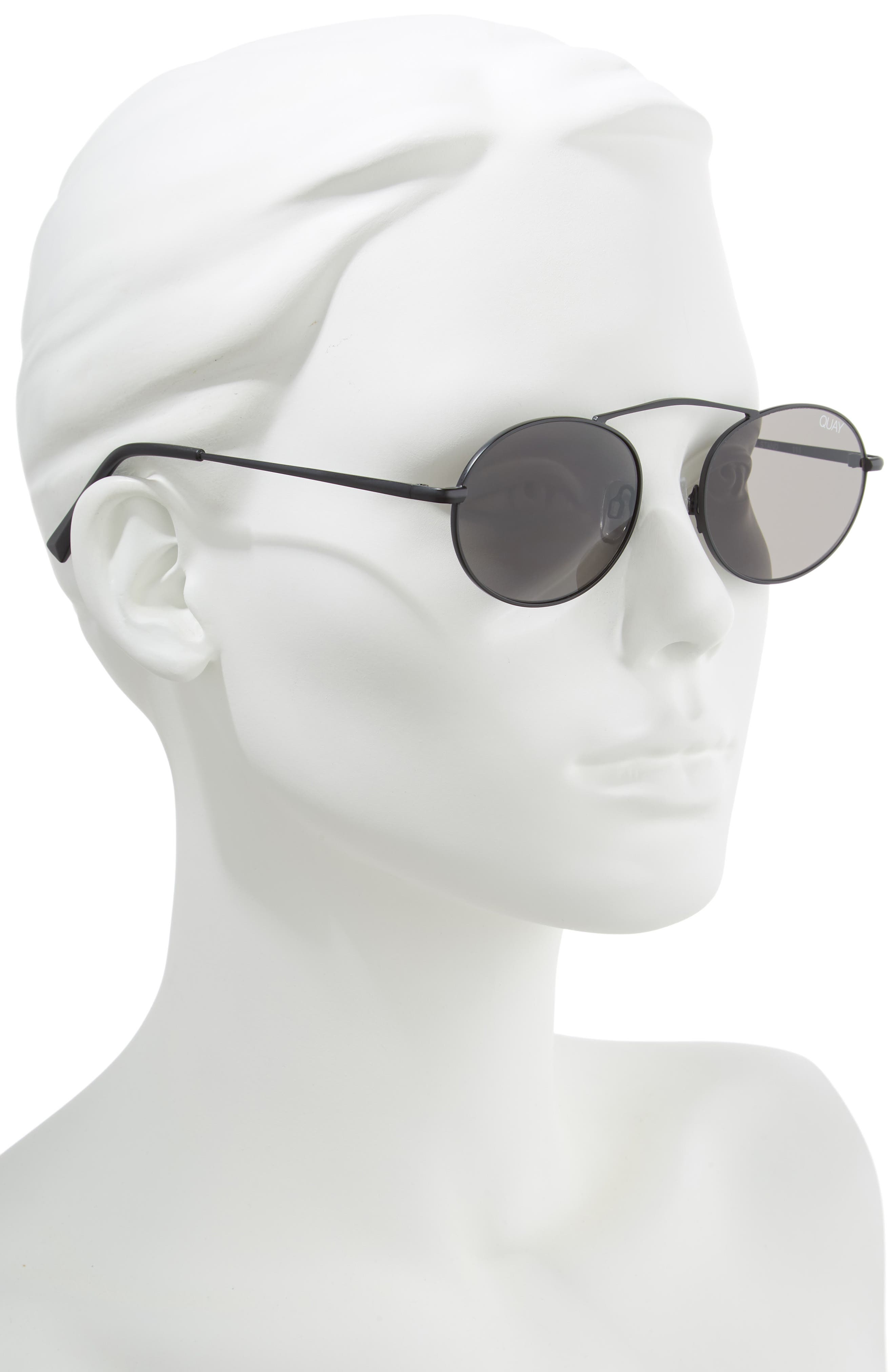 x Finders Keepers Final Stand 53mm Round Sunglasses,                             Alternate thumbnail 2, color,                             BLACK/ SMOKE