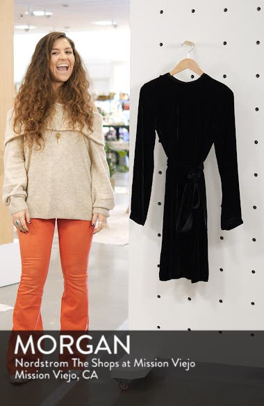 Belted Crinkled Velvet Dress, sales video thumbnail