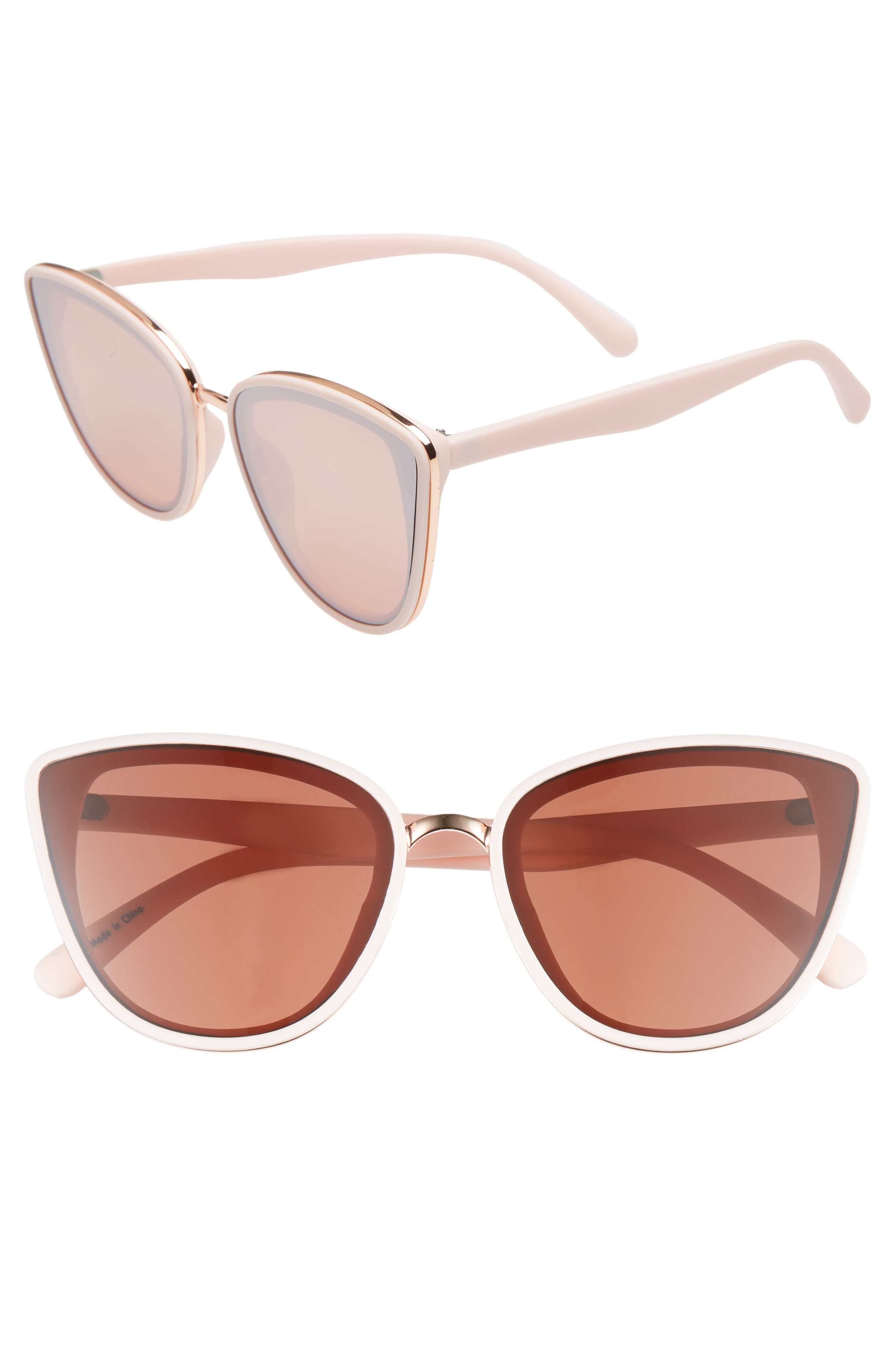 59mm Perfect Cat Eye Sunglasses,                             Main thumbnail 1, color,                             PINK