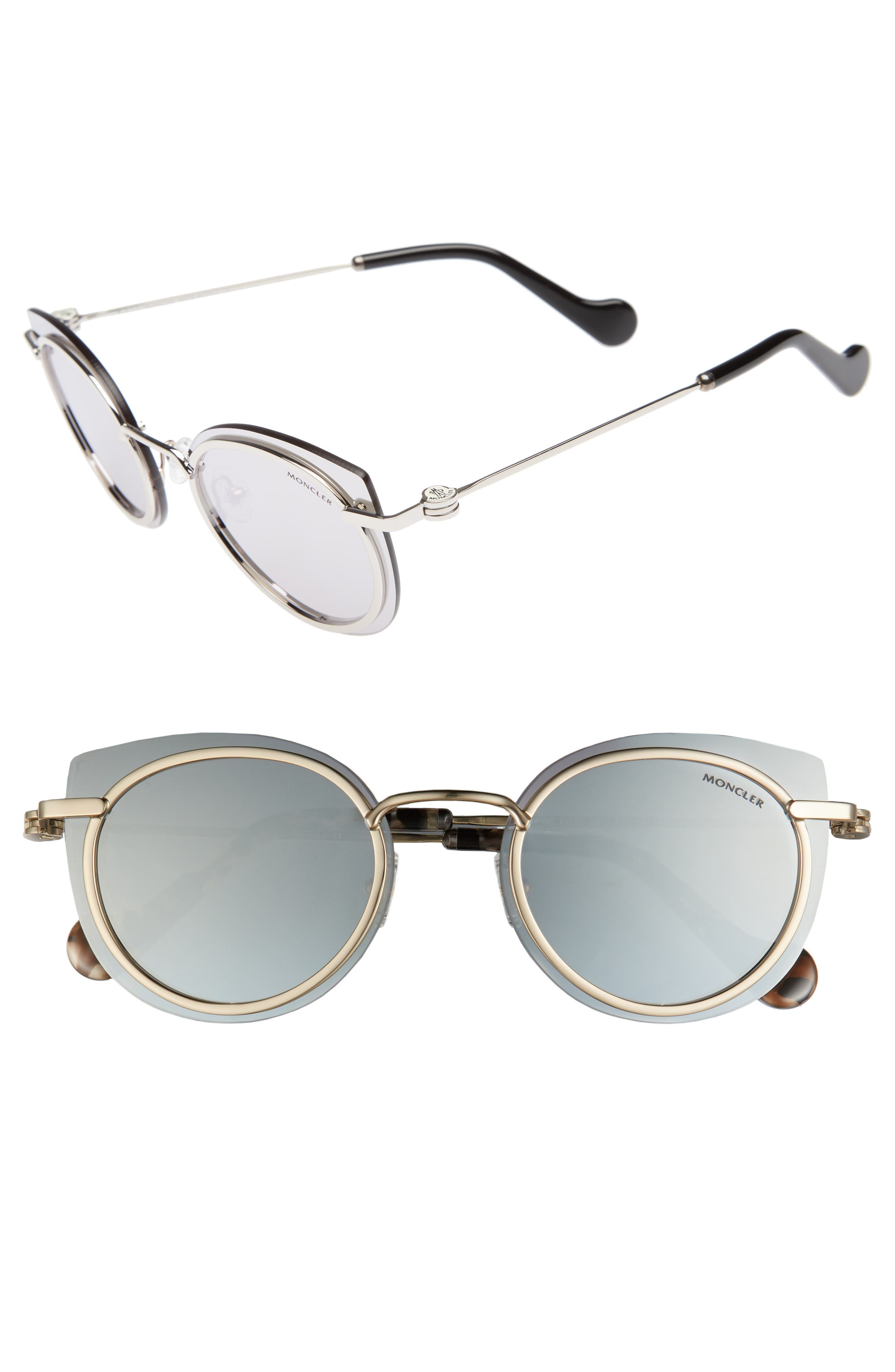 56mm Mirrored Cat Eye Sunglasses,                             Main thumbnail 1, color,                             040